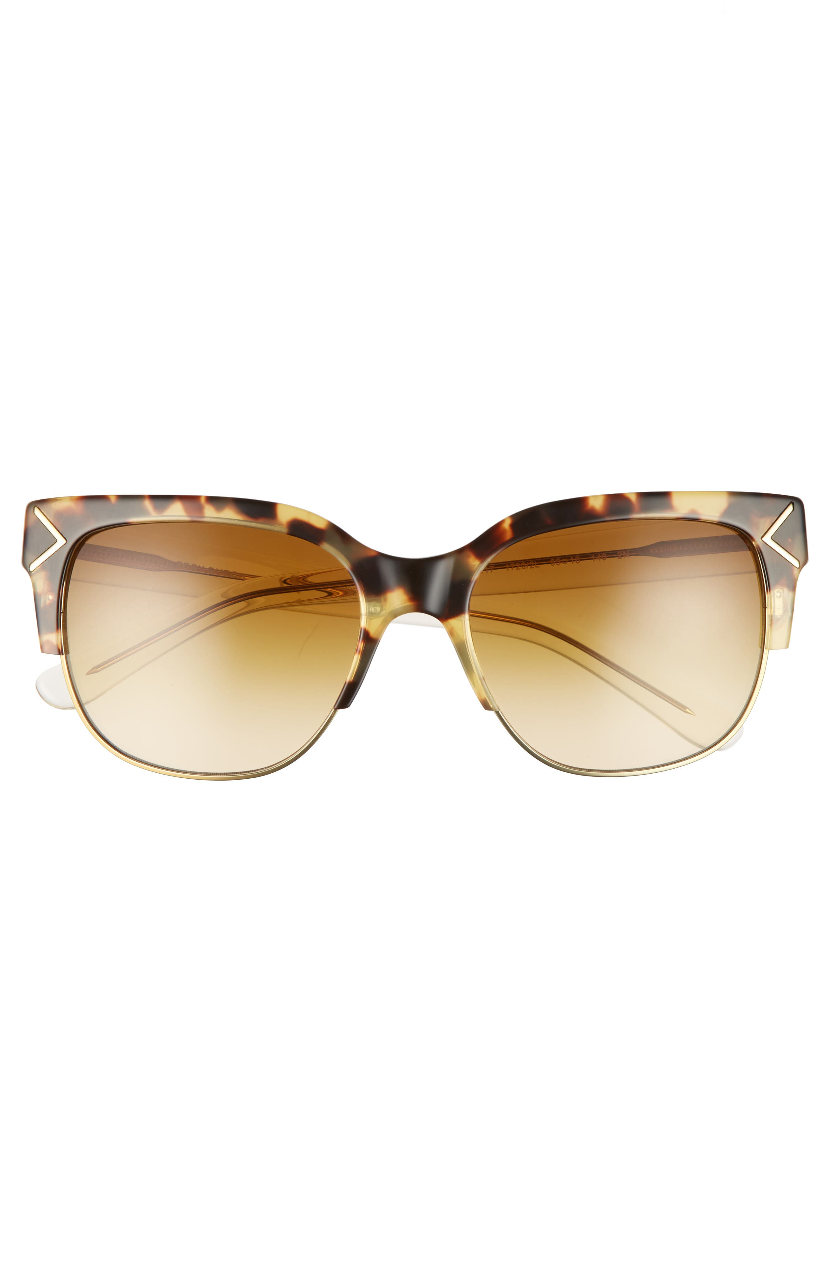 55mm Gradient Square Sunglasses,                             Alternate thumbnail 3, color,                             Gold/ Brown