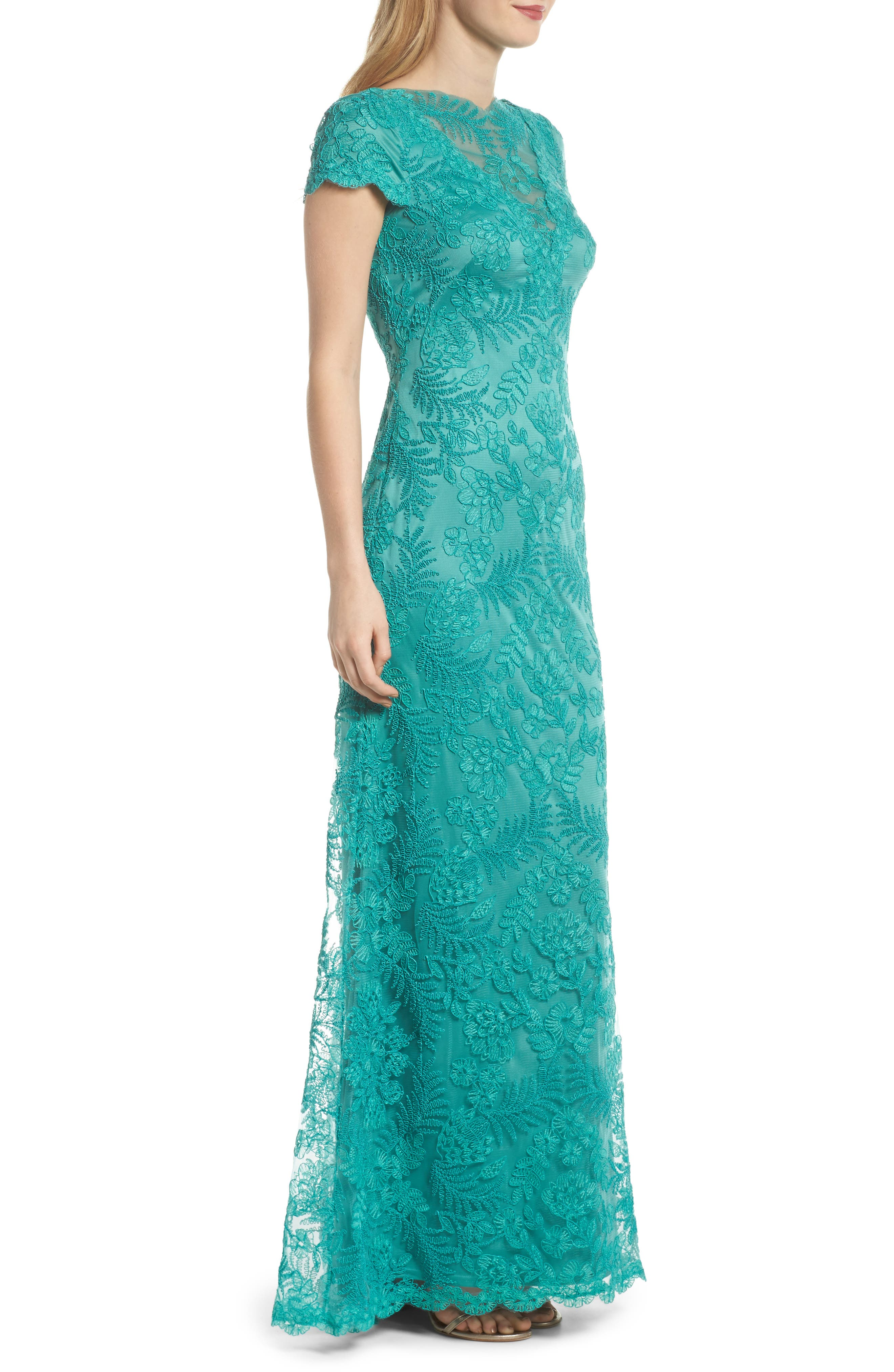 Embroidered Gown,                             Alternate thumbnail 3, color,                             Cool Aqua