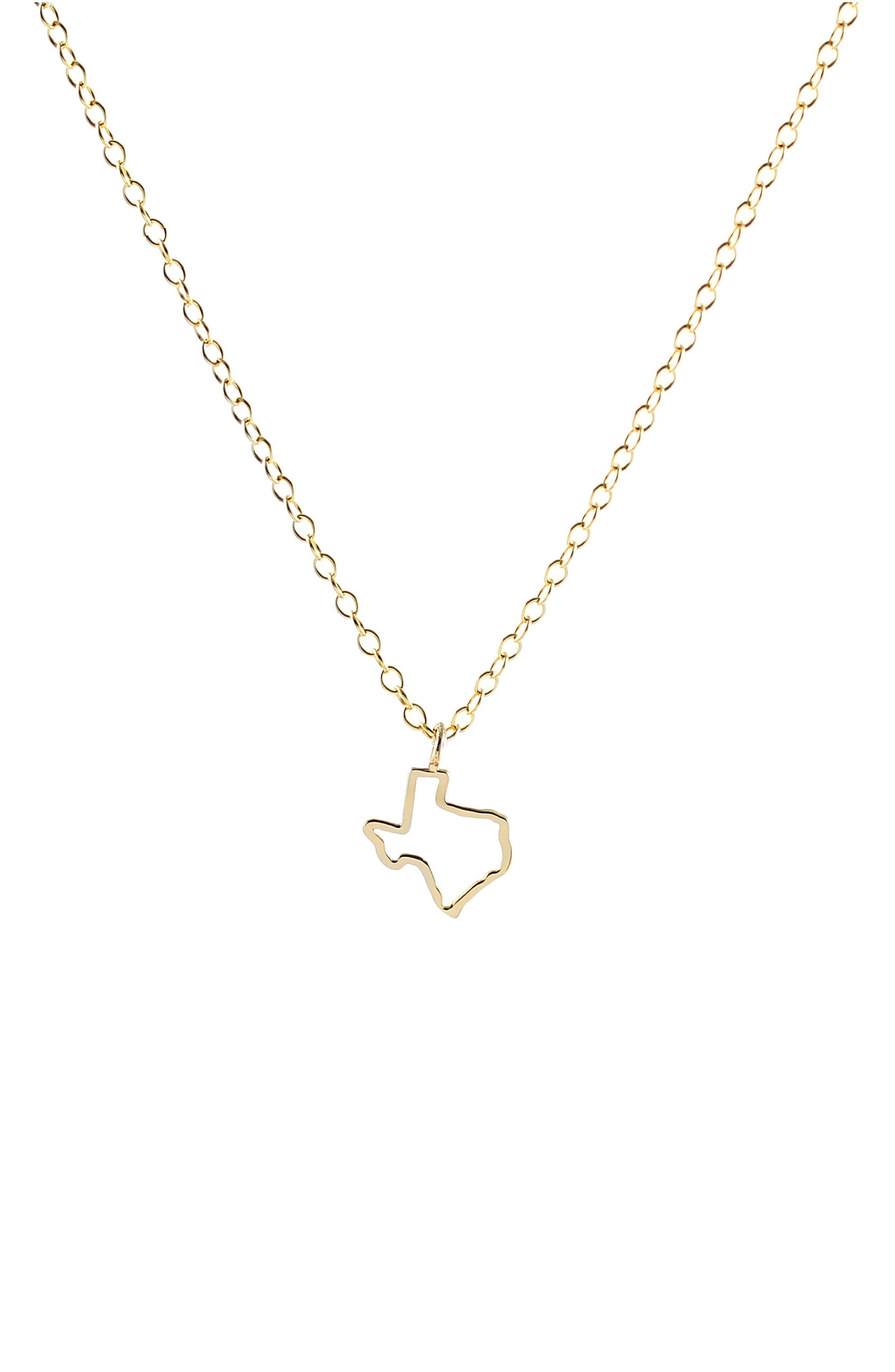 Texas Outline Charm Necklace,                             Main thumbnail 1, color,                             Texas - Gold