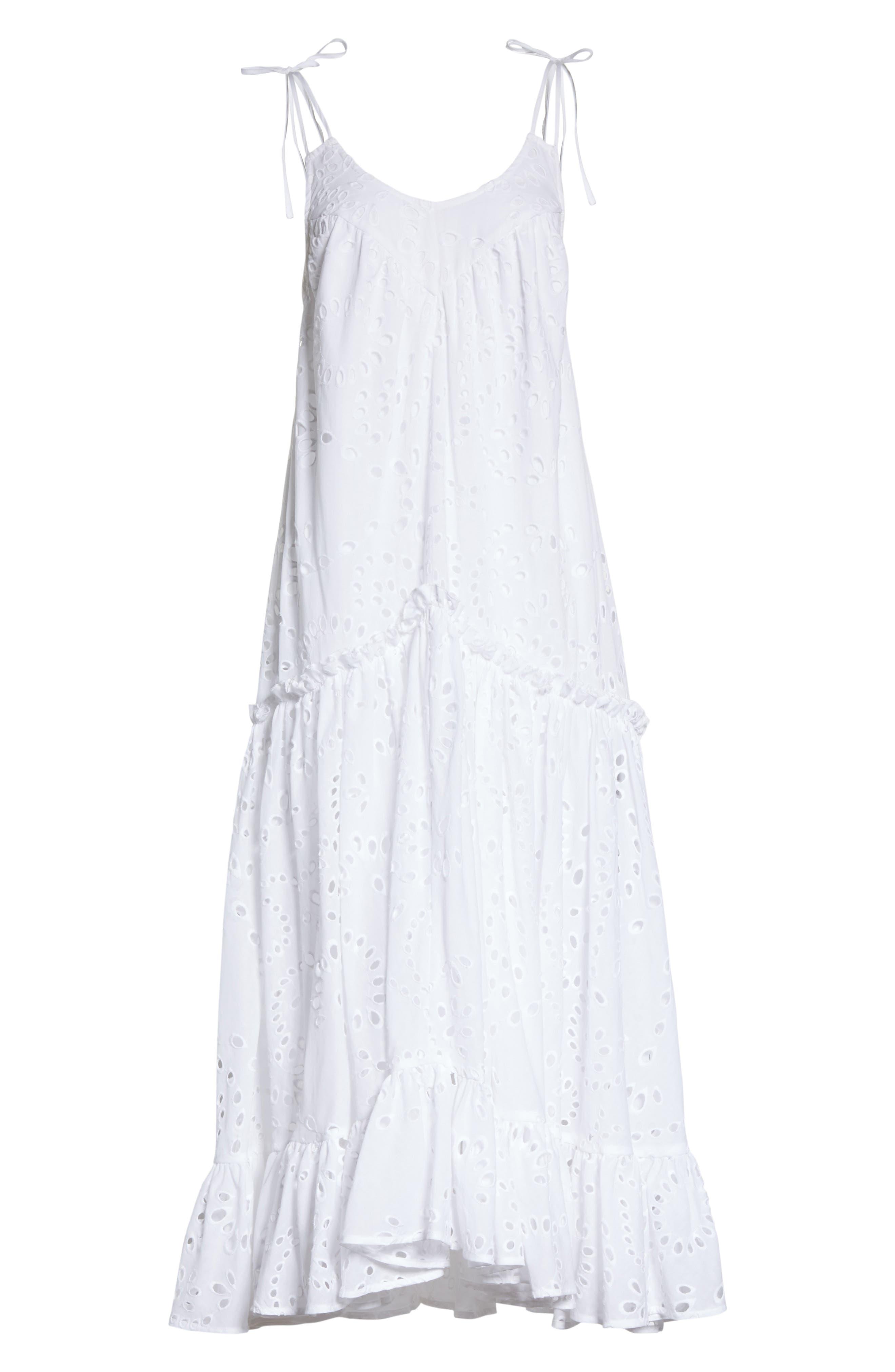 Prose & Poetry Kerr Eyelet Peasant Midi Dress,                             Alternate thumbnail 6, color,                             Cloud White