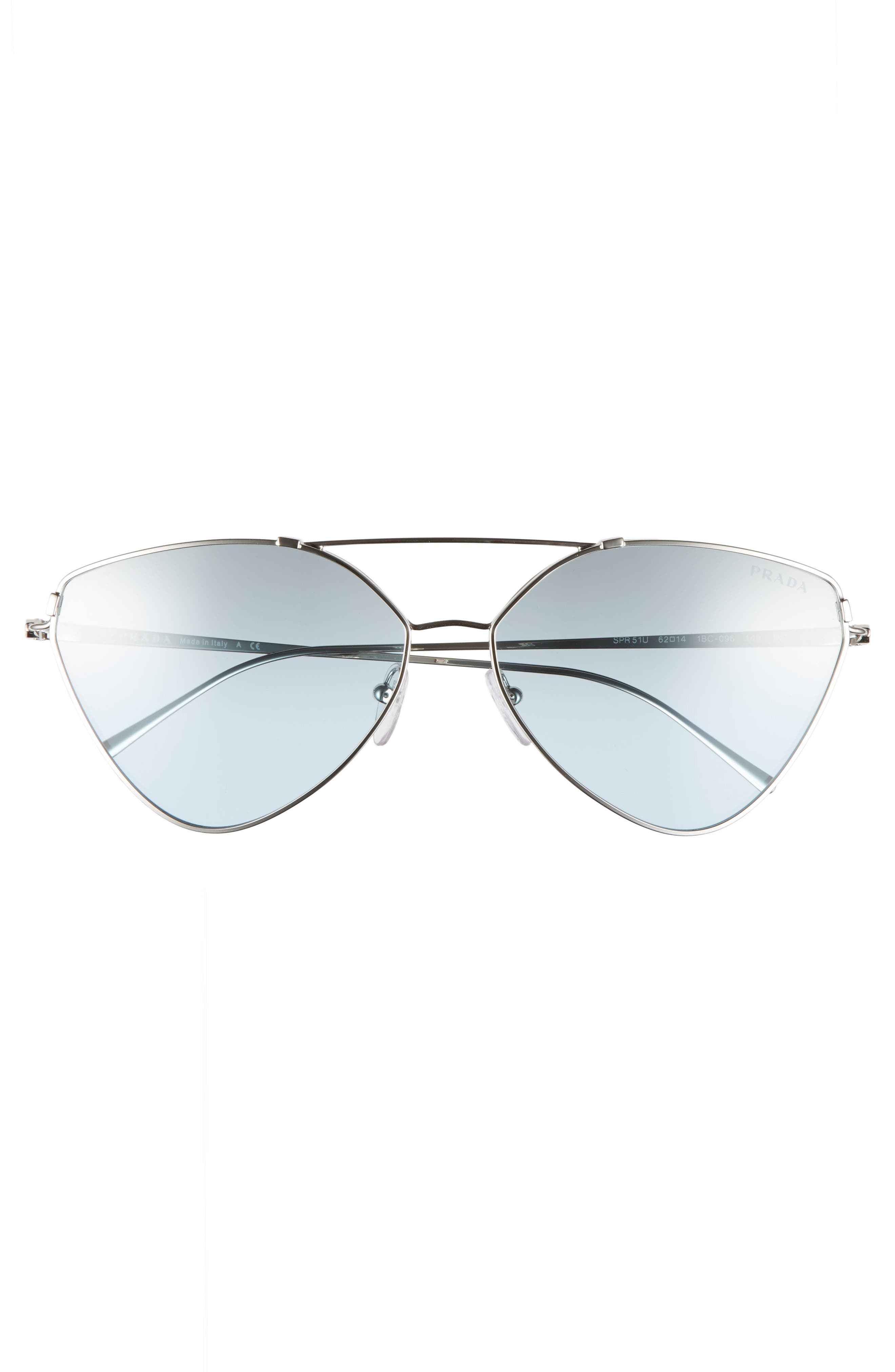 62mm Oversize Aviator Sunglasses,                             Alternate thumbnail 3, color,                             Silver