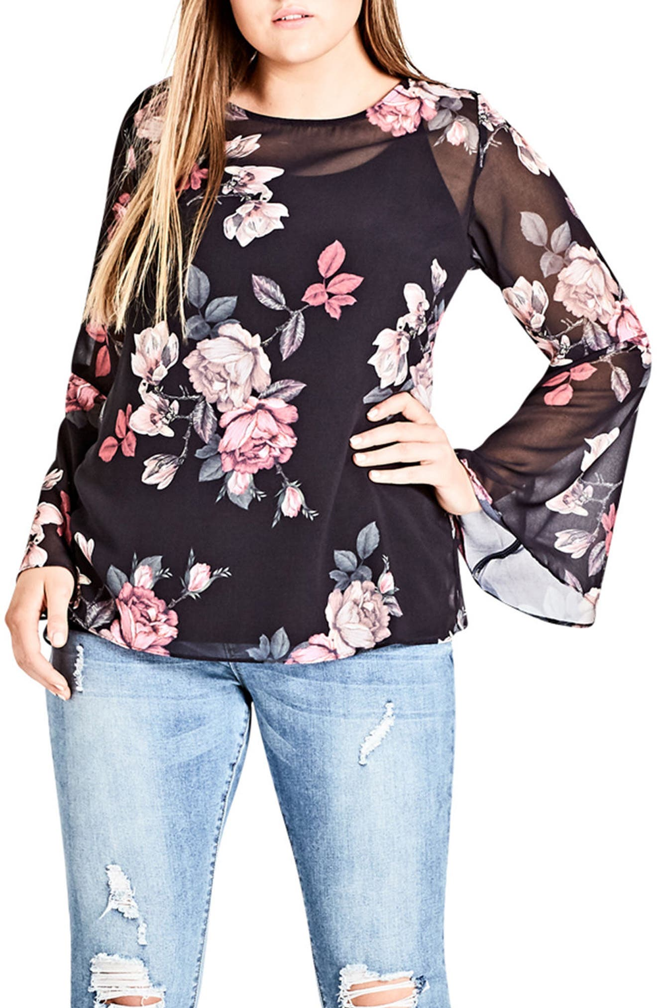 Alternate Image 1 Selected - City Chic Mirror Rose Top (Plus Size)