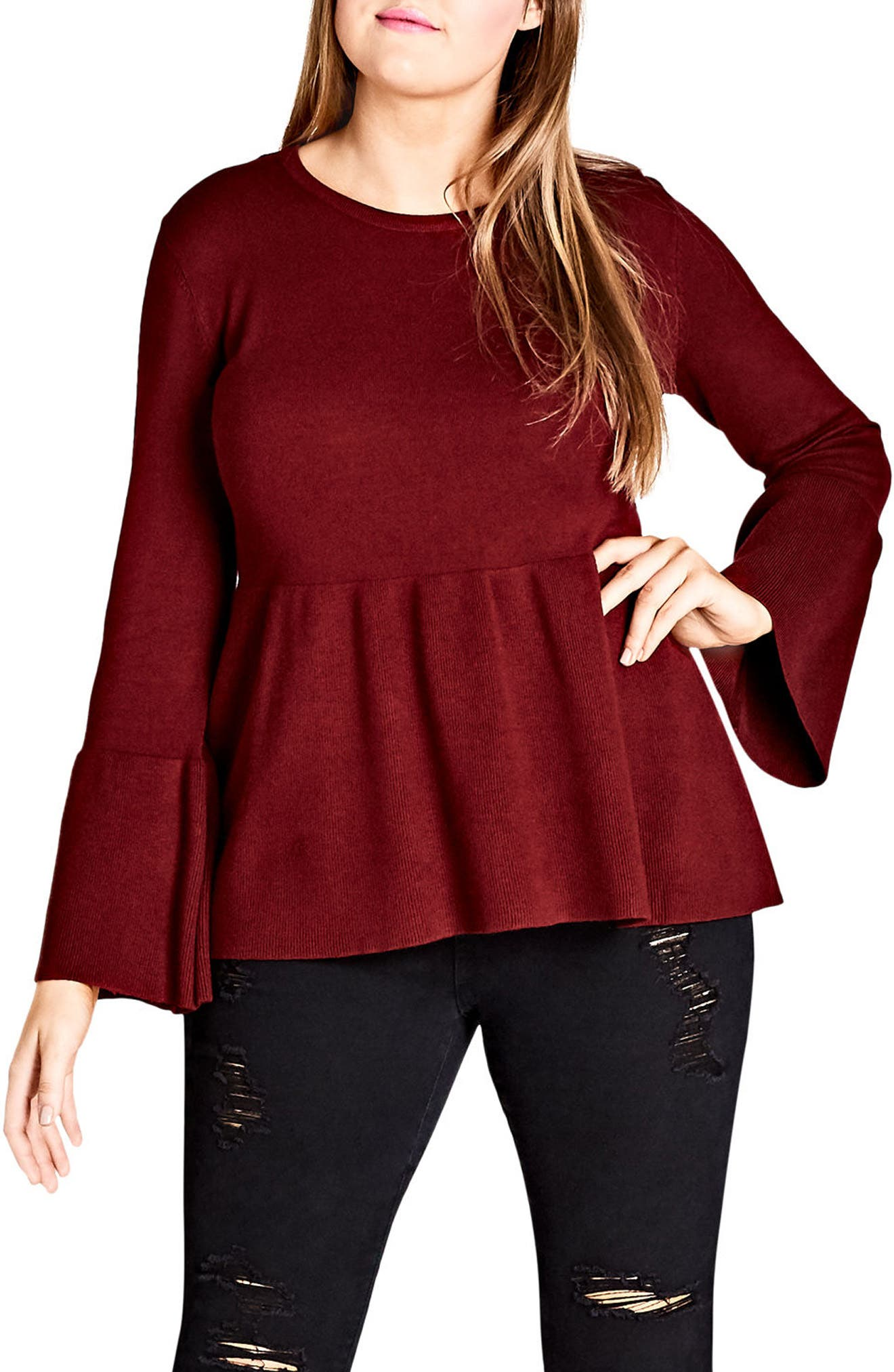 Alternate Image 1 Selected - City Chic Bell Sleeve Peplum Sweater (Plus Size)