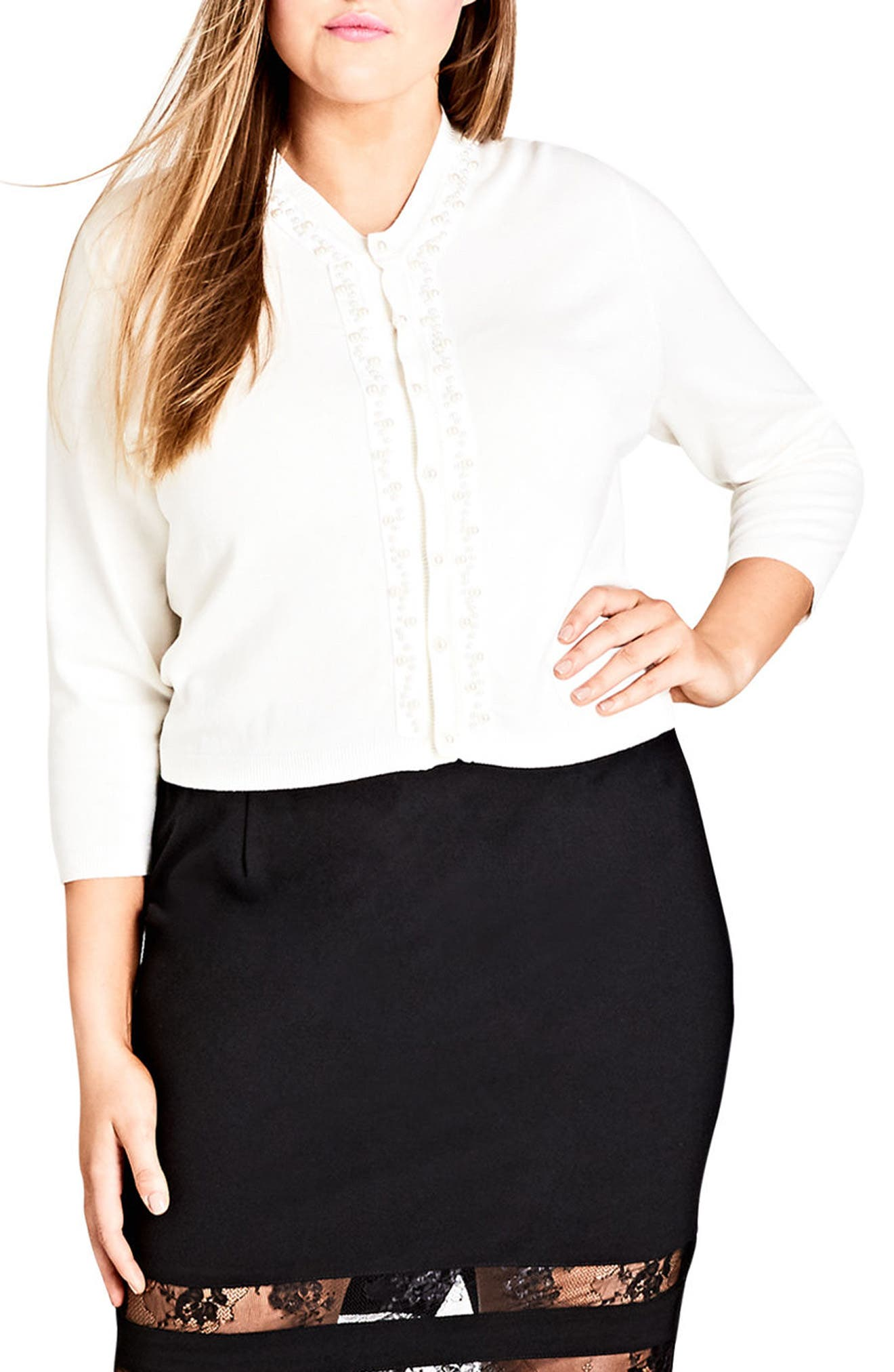 Main Image - City Chic Imitation Pearl Trim Cardigan (Plus Size)