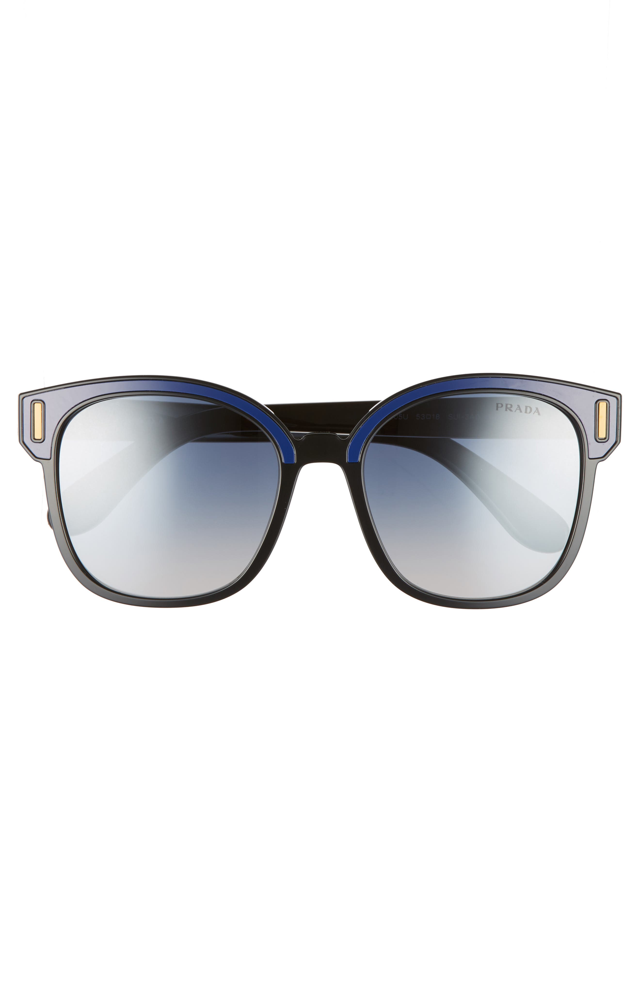 53mm Sunglasses,                             Alternate thumbnail 3, color,                             Black/ Blue