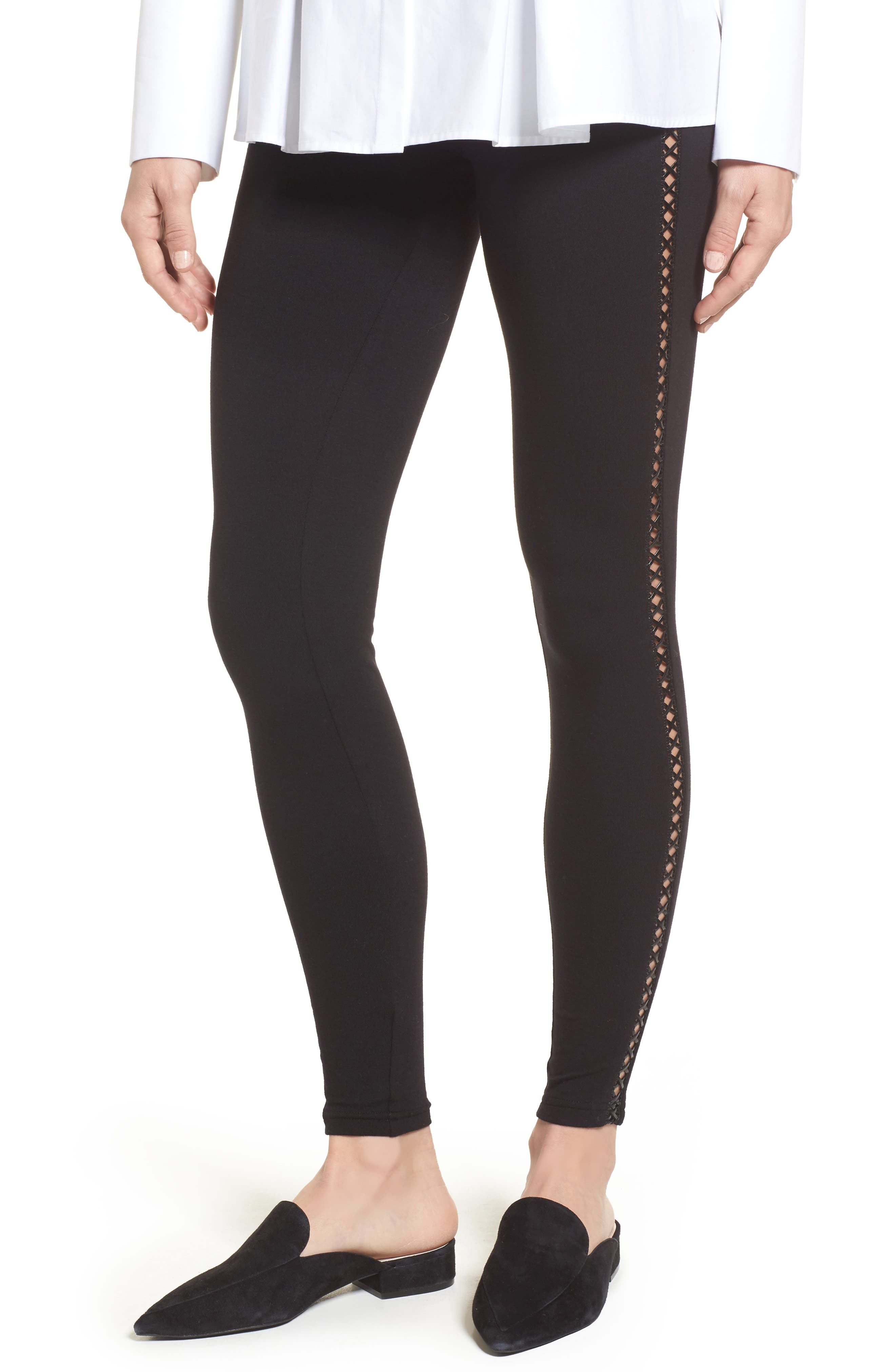 Zeza B by Hue Faux Leather Tuxedo Stripe Leggings