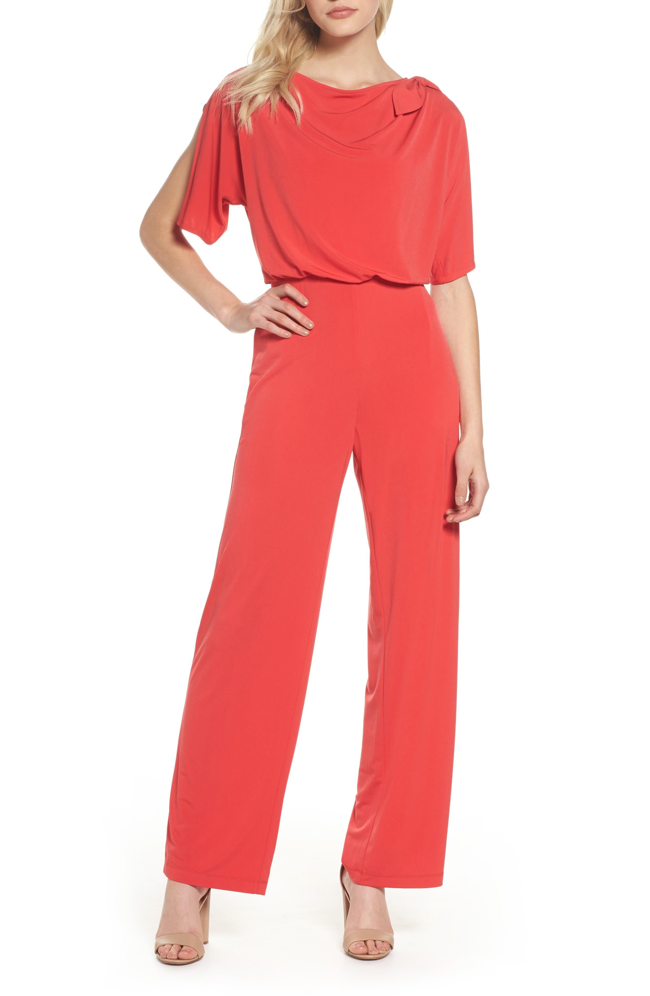 Crepe Split Sleeve Jumpsuit,                             Main thumbnail 1, color,                             Red