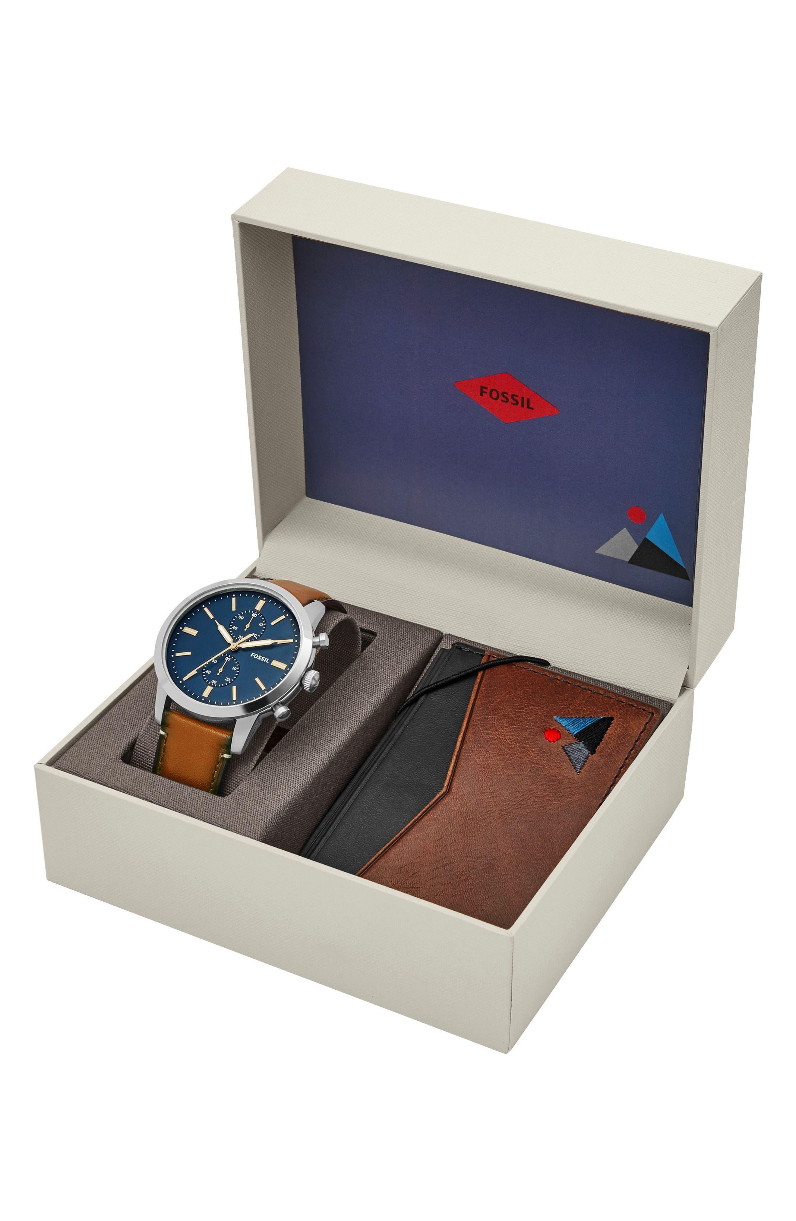 Townsman Chronograph Leather Strap Watch & Wallet Set, 44mm,                             Alternate thumbnail 3, color,                             Brown/ Blue/ Silver