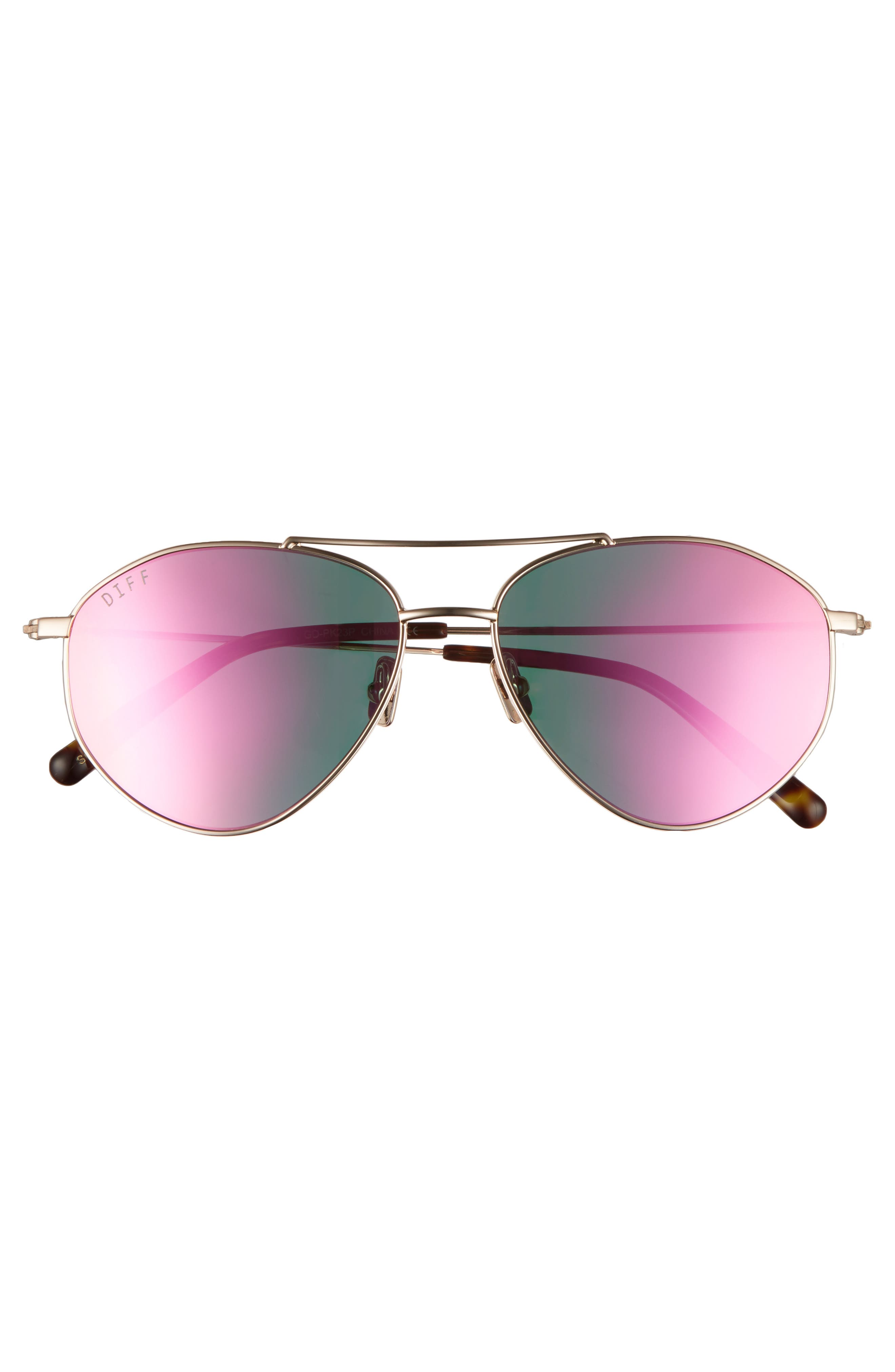 Scout 53mm Aviator Sunglasses,                             Alternate thumbnail 3, color,                             Gold/ Pink