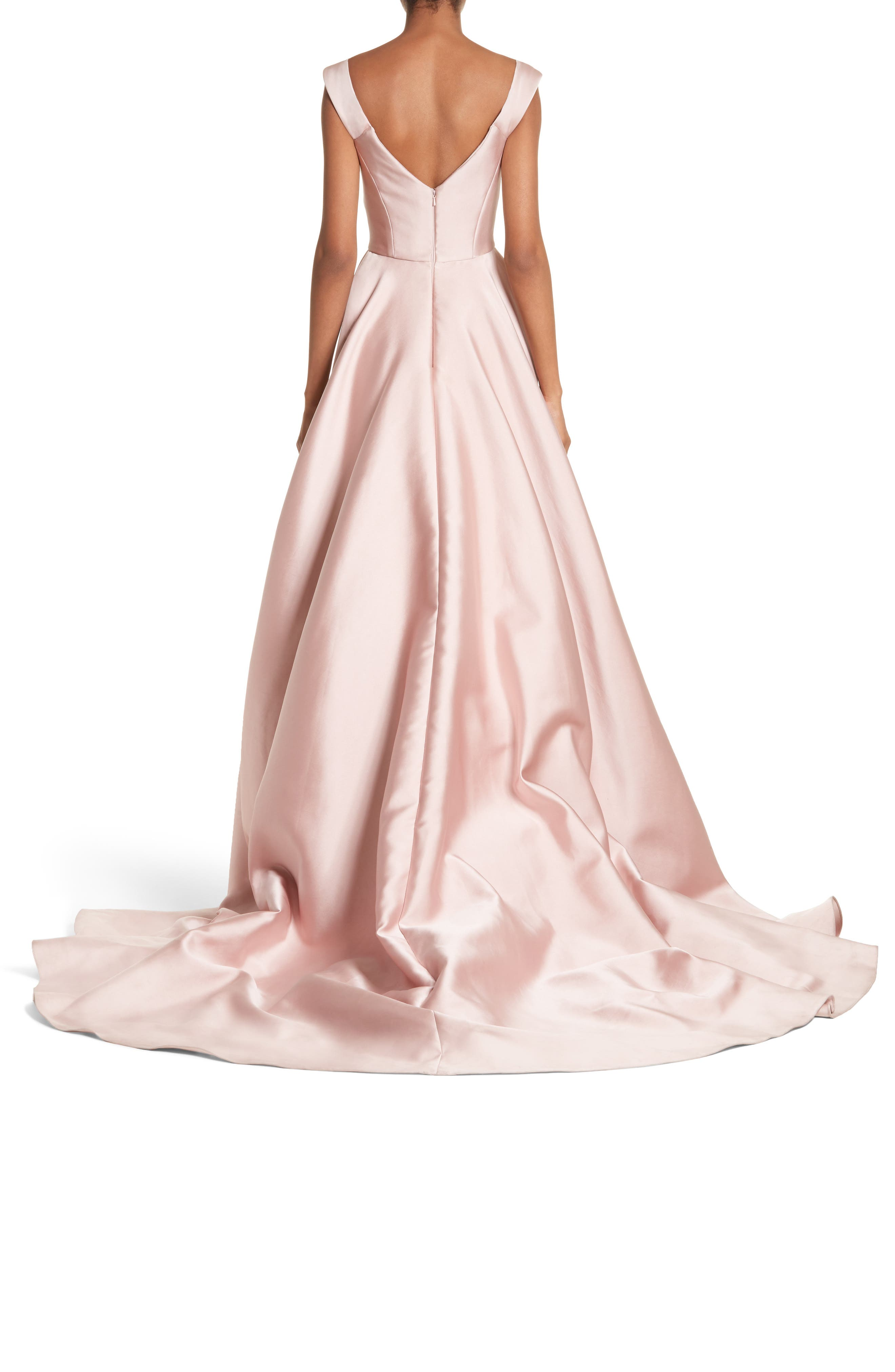 Alternate Image 2  - Marchesa Corsage Off the Shoulder Satin Ballgown