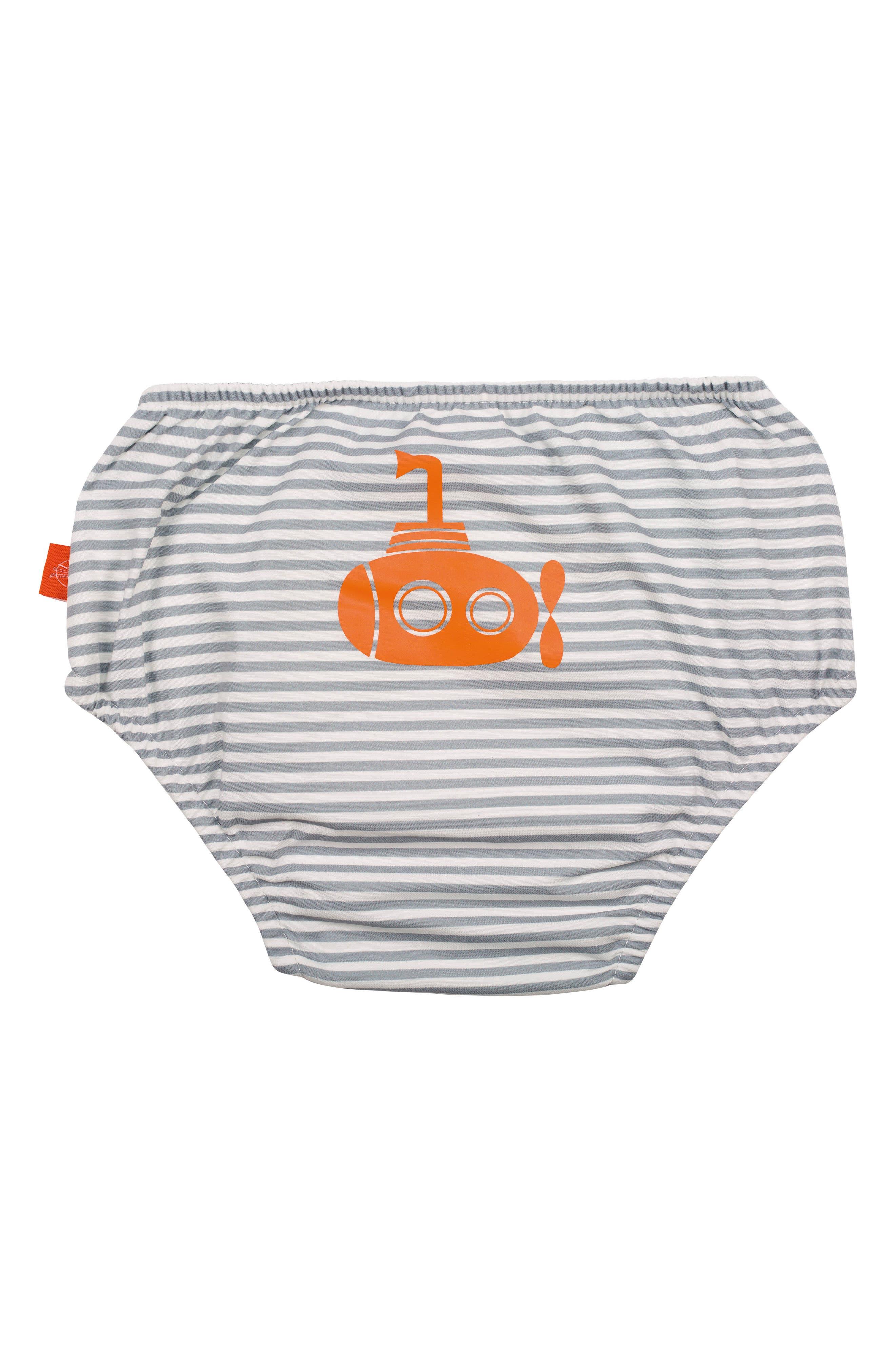 Submarine Swim Diaper Cover,                             Alternate thumbnail 2, color,                             Grey Orange