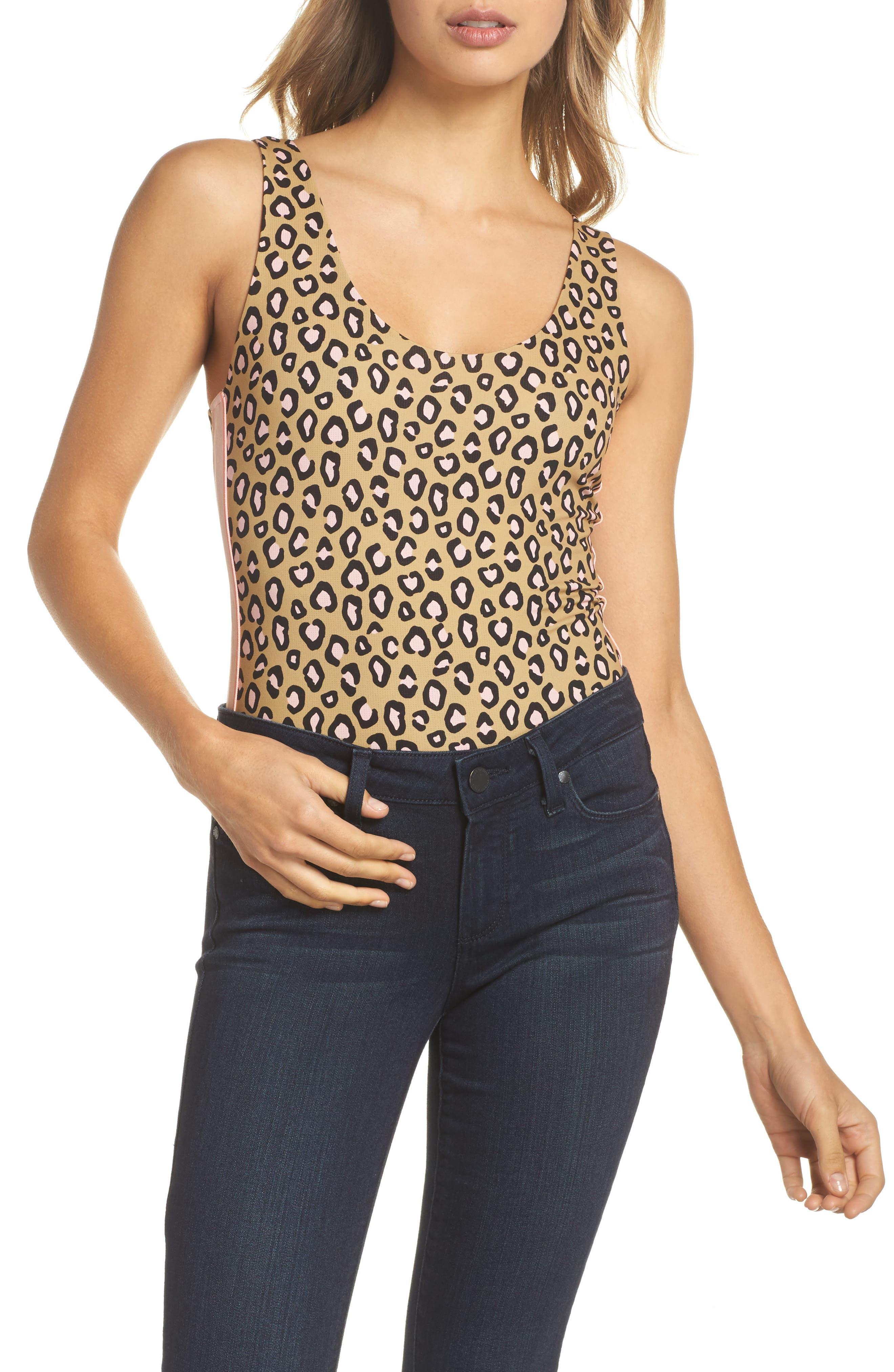 Feline Bodysuit,                             Alternate thumbnail 5, color,                             Beige Multi