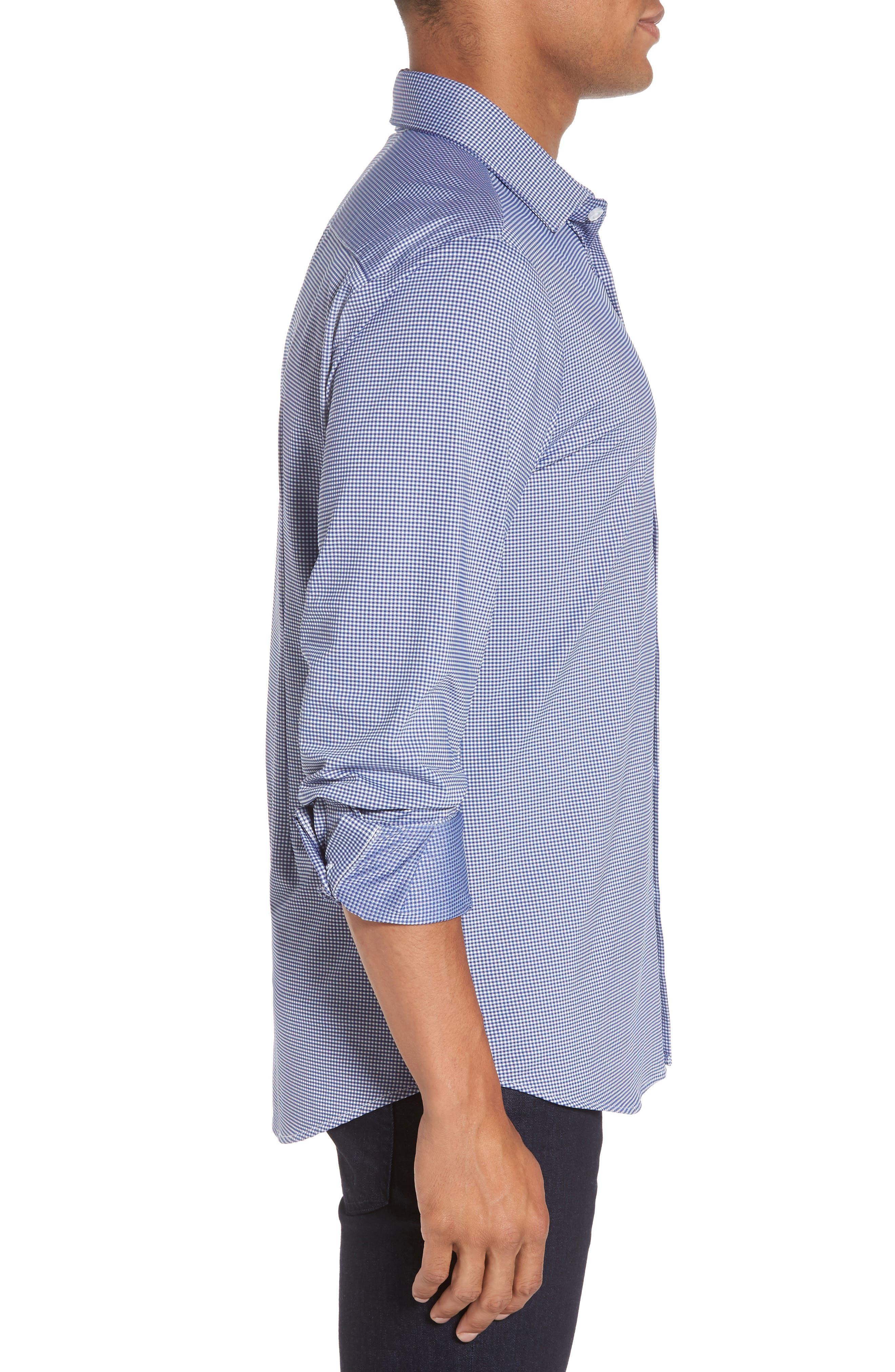 Davenport Gingham Sport Shirt,                             Alternate thumbnail 3, color,                             Black