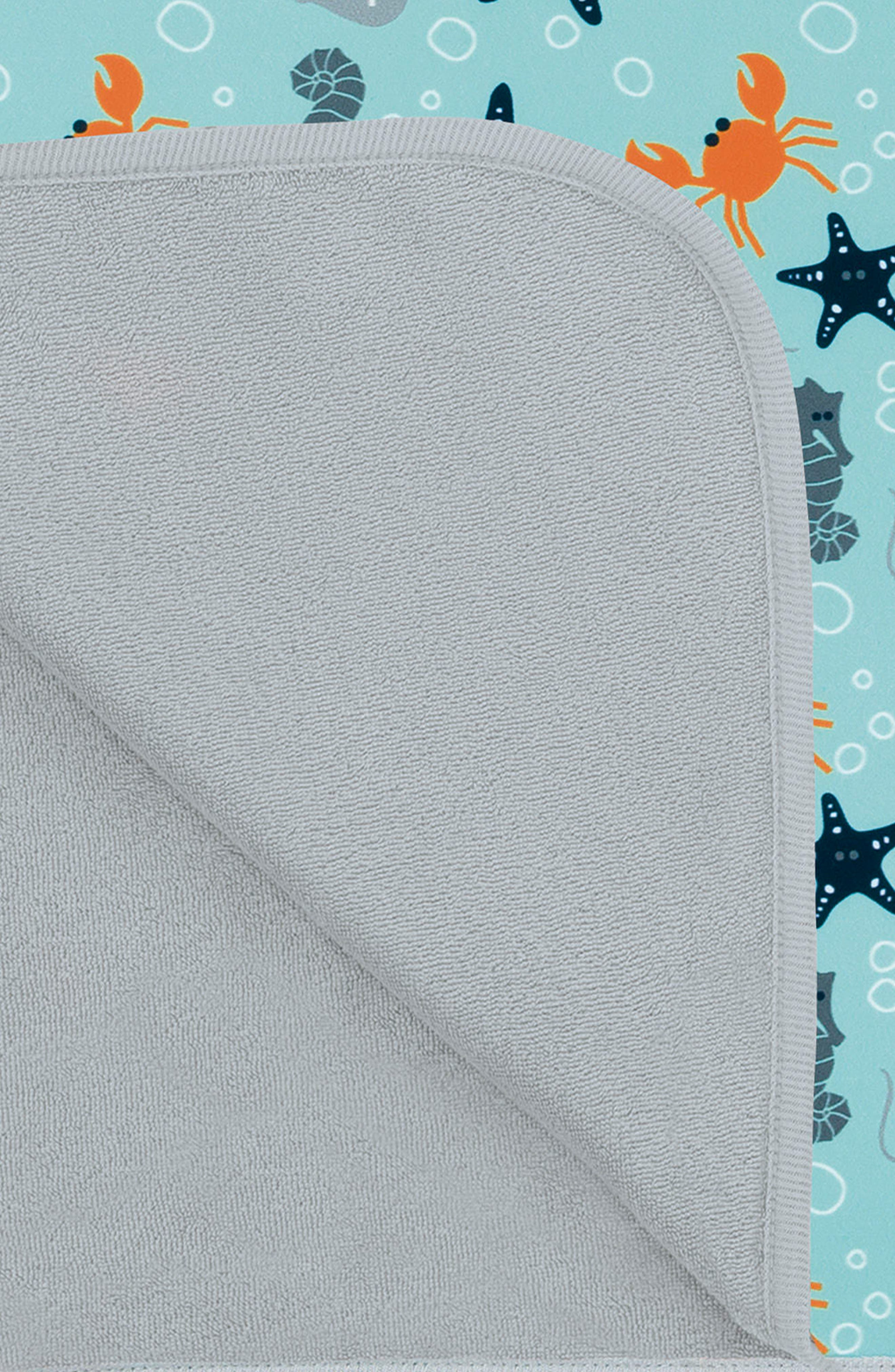 Starfish Hooded Beach Poncho,                             Alternate thumbnail 2, color,                             Light Blue Orange Grey Navy