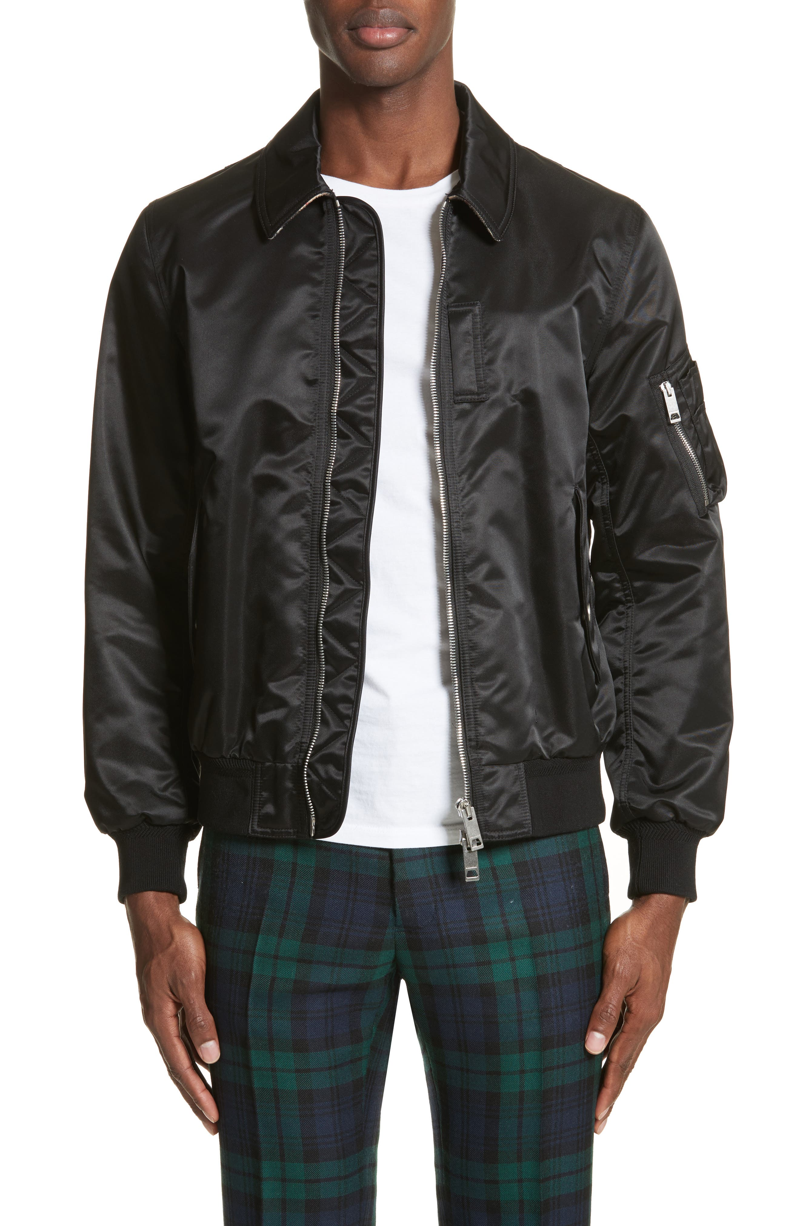 Main Image - Burberry Pipley Spread Collar Bomber Jacket