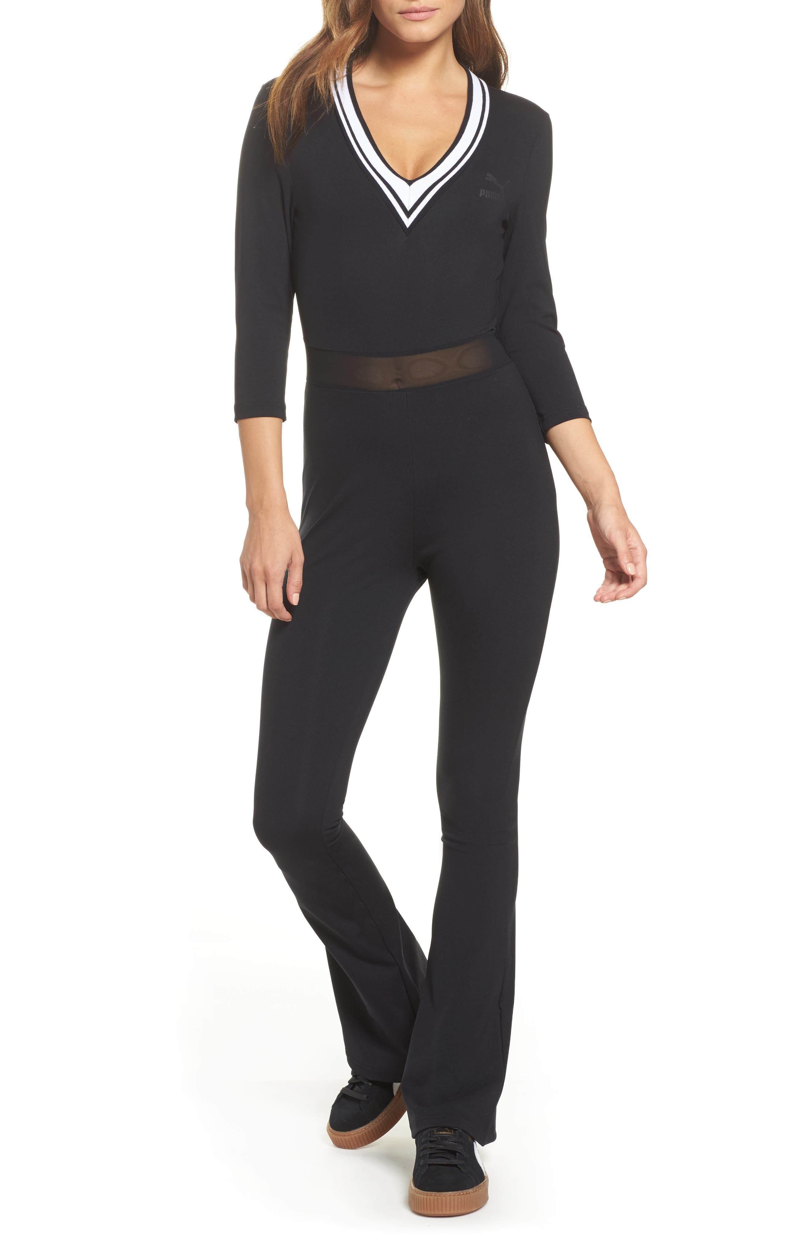 V-Neck Jumpsuit,                         Main,                         color, Cotton Black