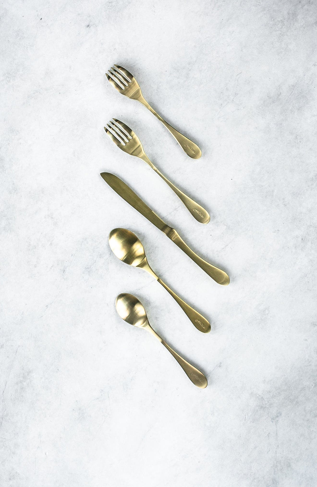 5-Piece Brass Finish Place Setting,                             Alternate thumbnail 2, color,                             Satin Brass