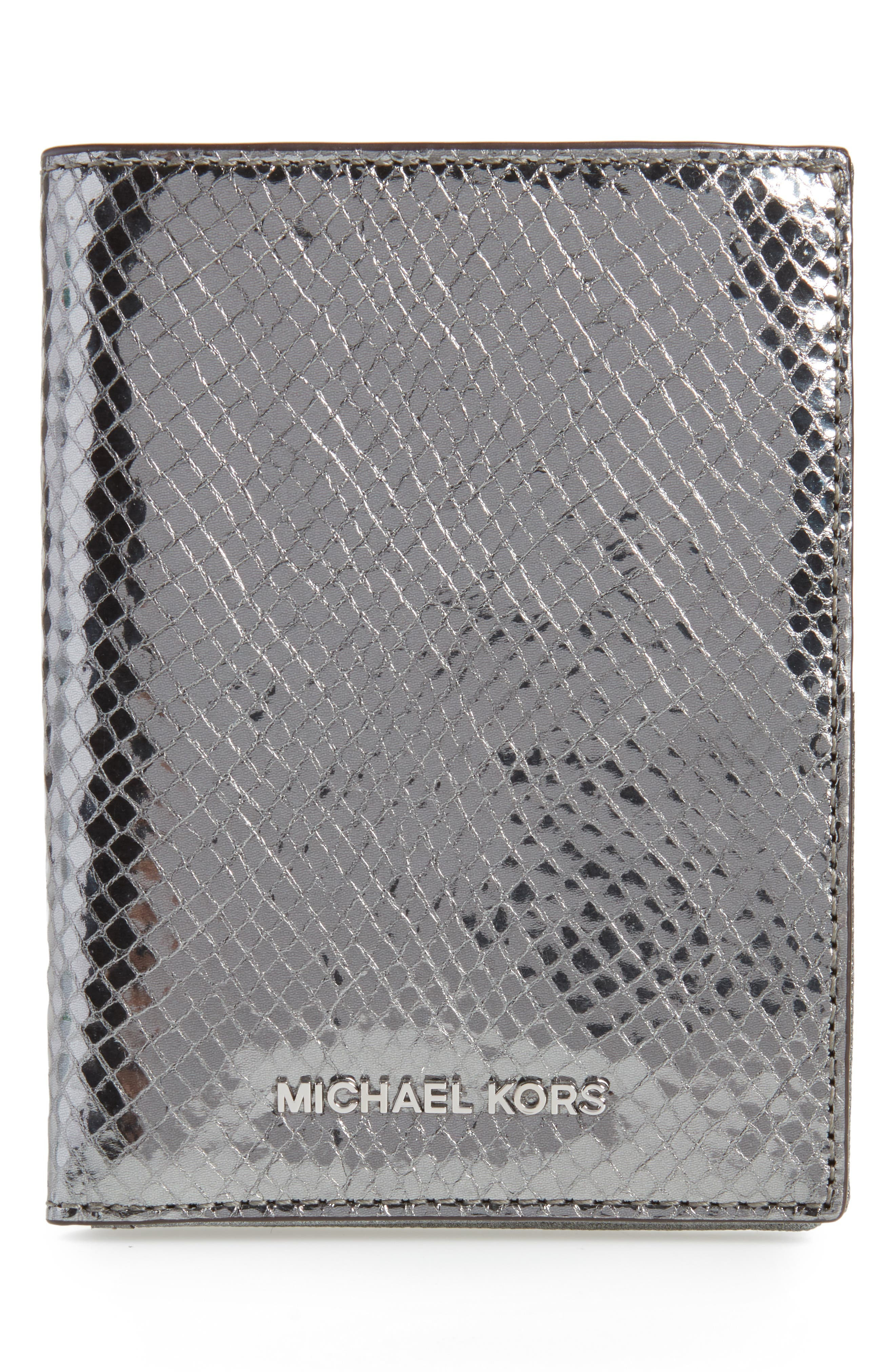 Money Pieces Leather Passport Wallet,                             Main thumbnail 1, color,                             Light Pewter
