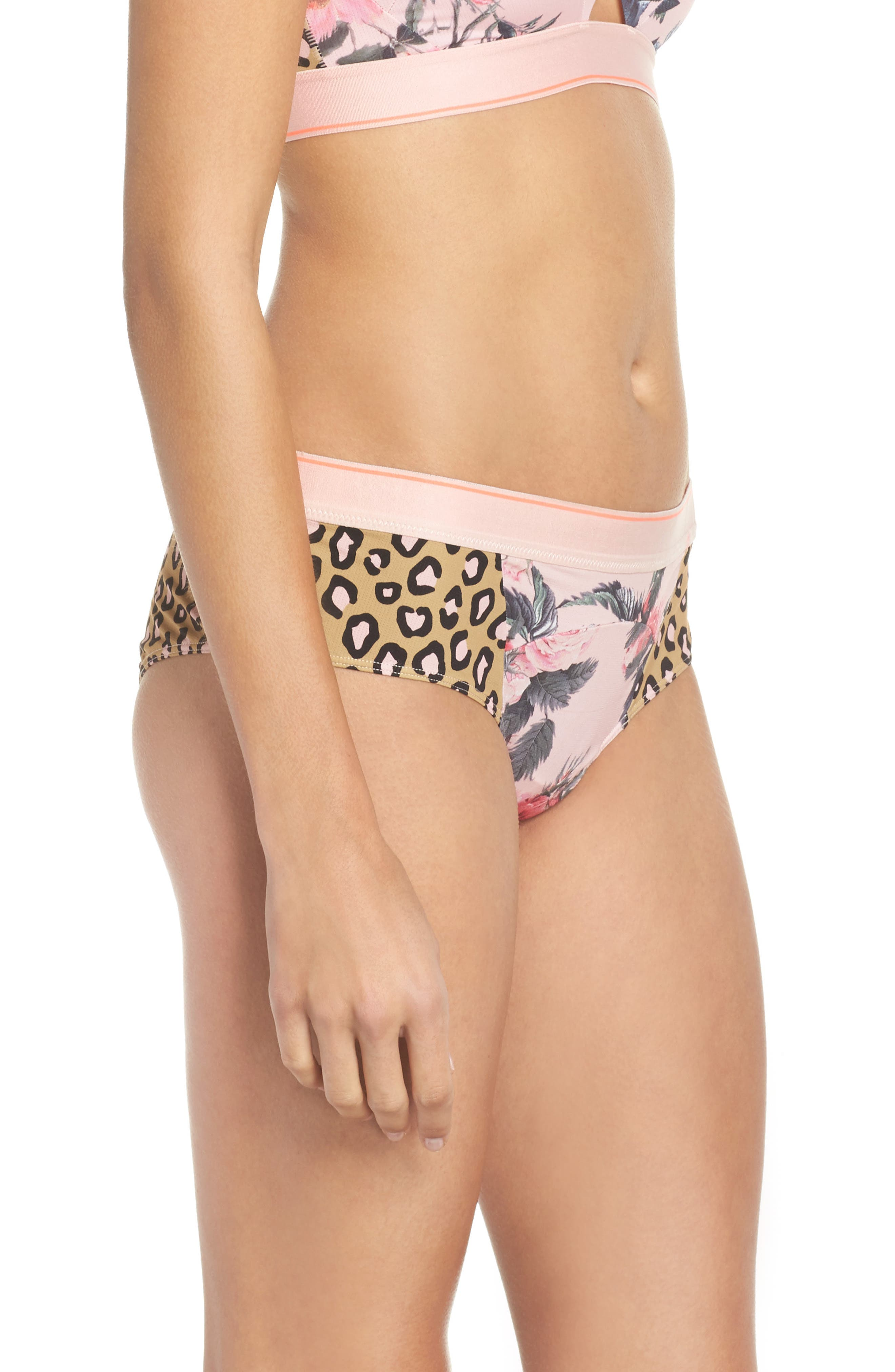 Feline Floral Cheeky Hipster Briefs,                             Alternate thumbnail 3, color,                             Pink Multi