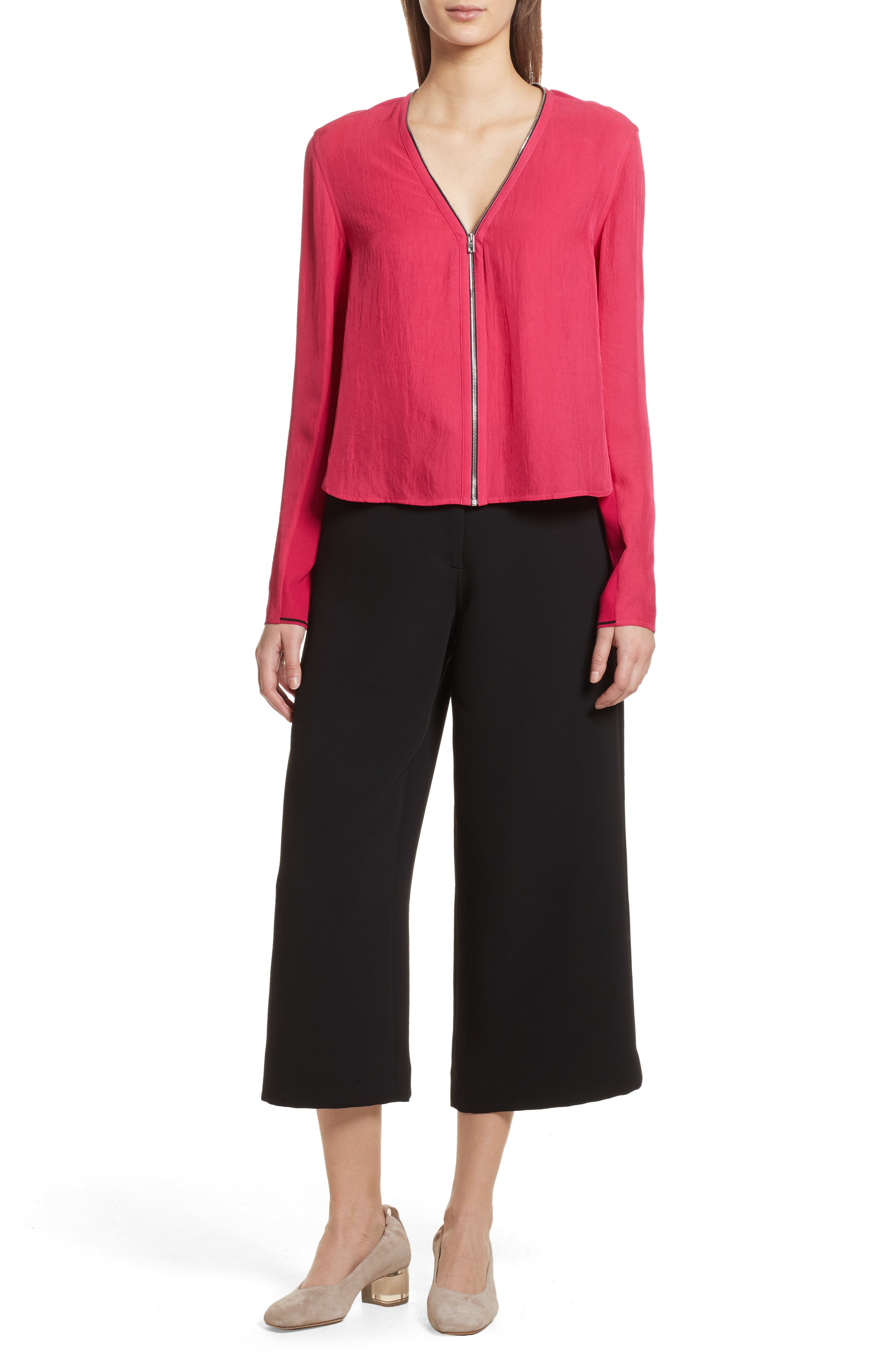 Vanessa Zip Front Blouse,                             Alternate thumbnail 7, color,                             Bright Rose