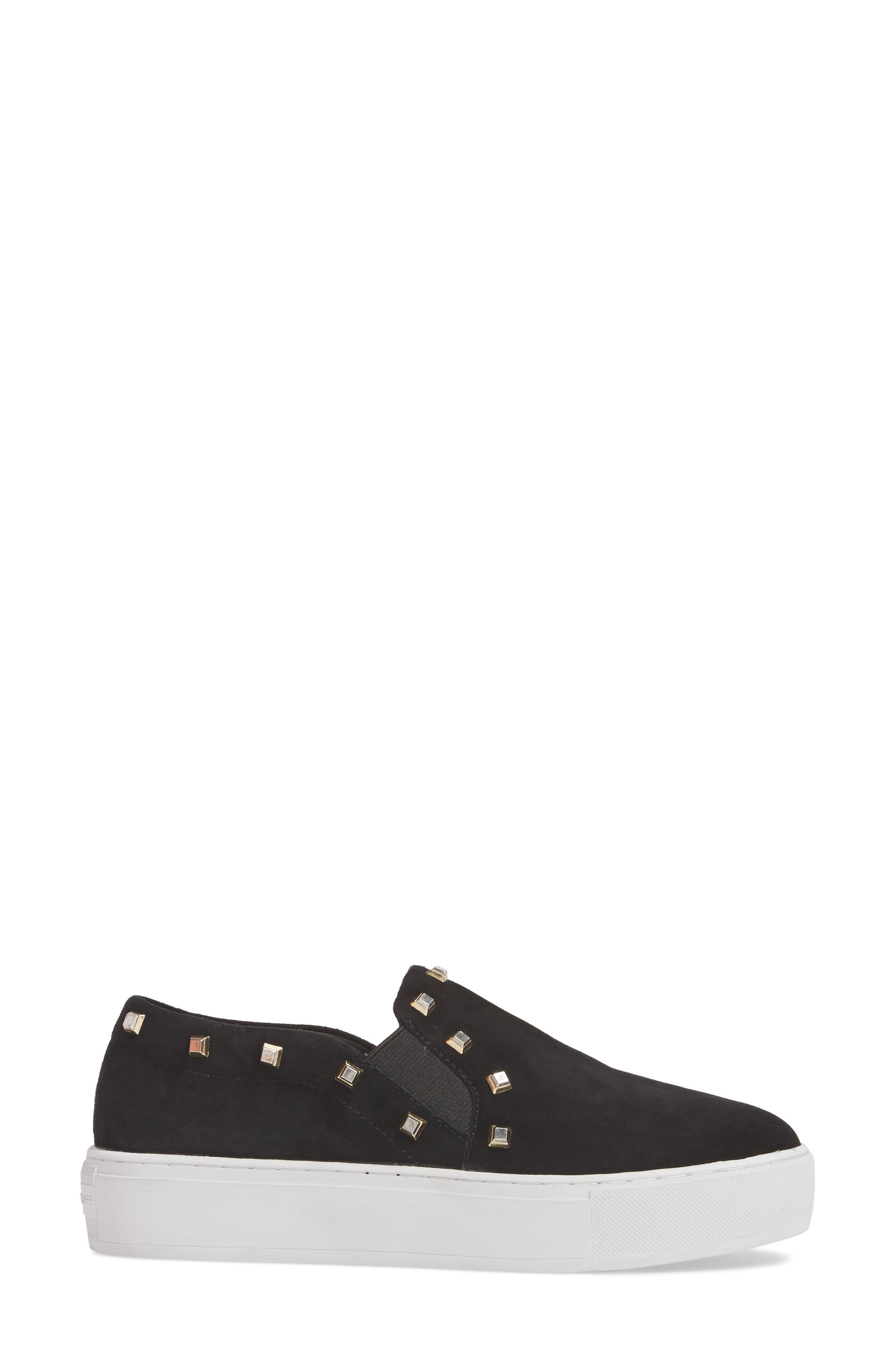 Nora Stud Platform Sneaker,                             Alternate thumbnail 3, color,                             Black Suede