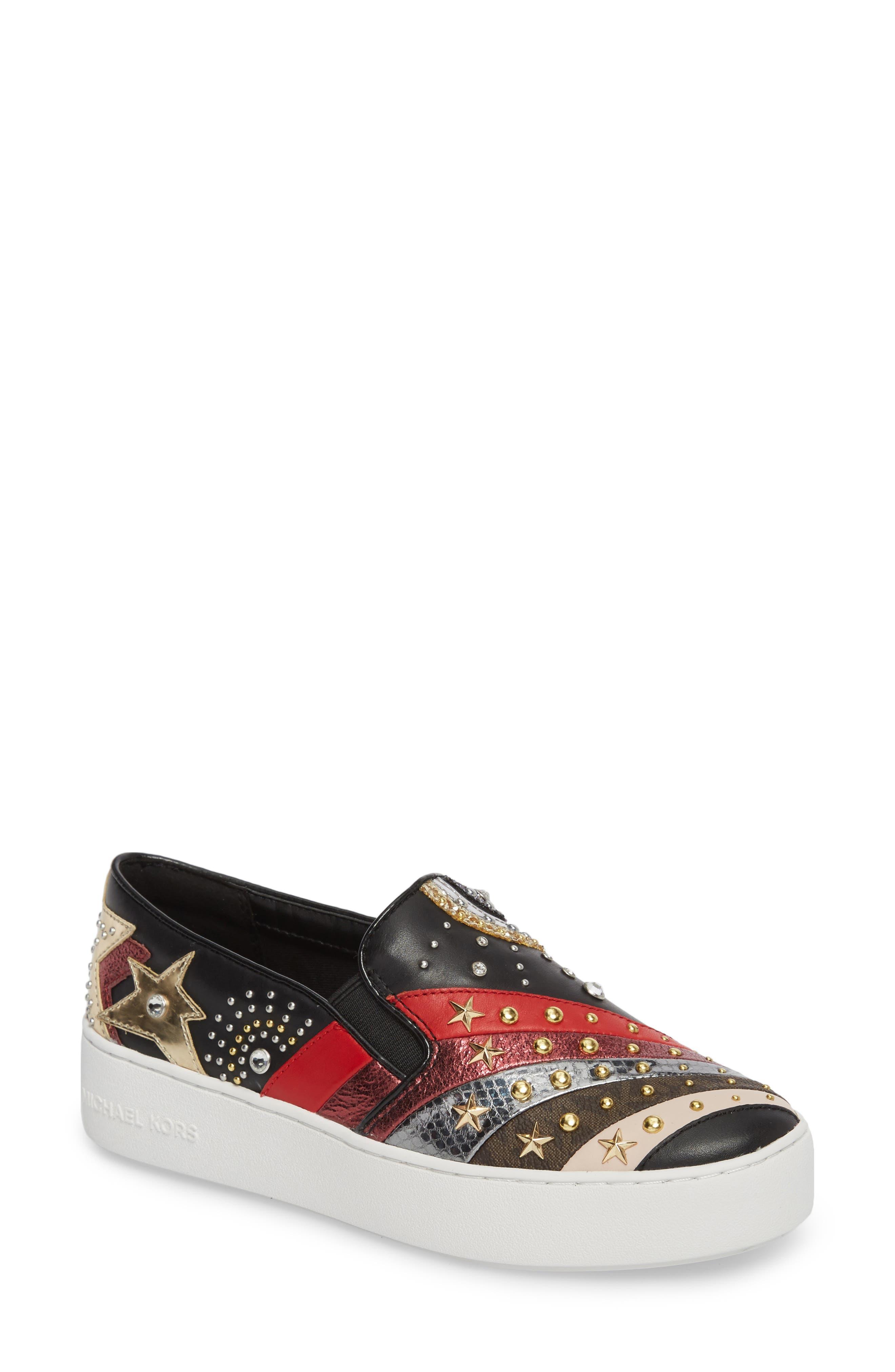Trent Slip-On Sneaker,                         Main,                         color, Black Firework Print