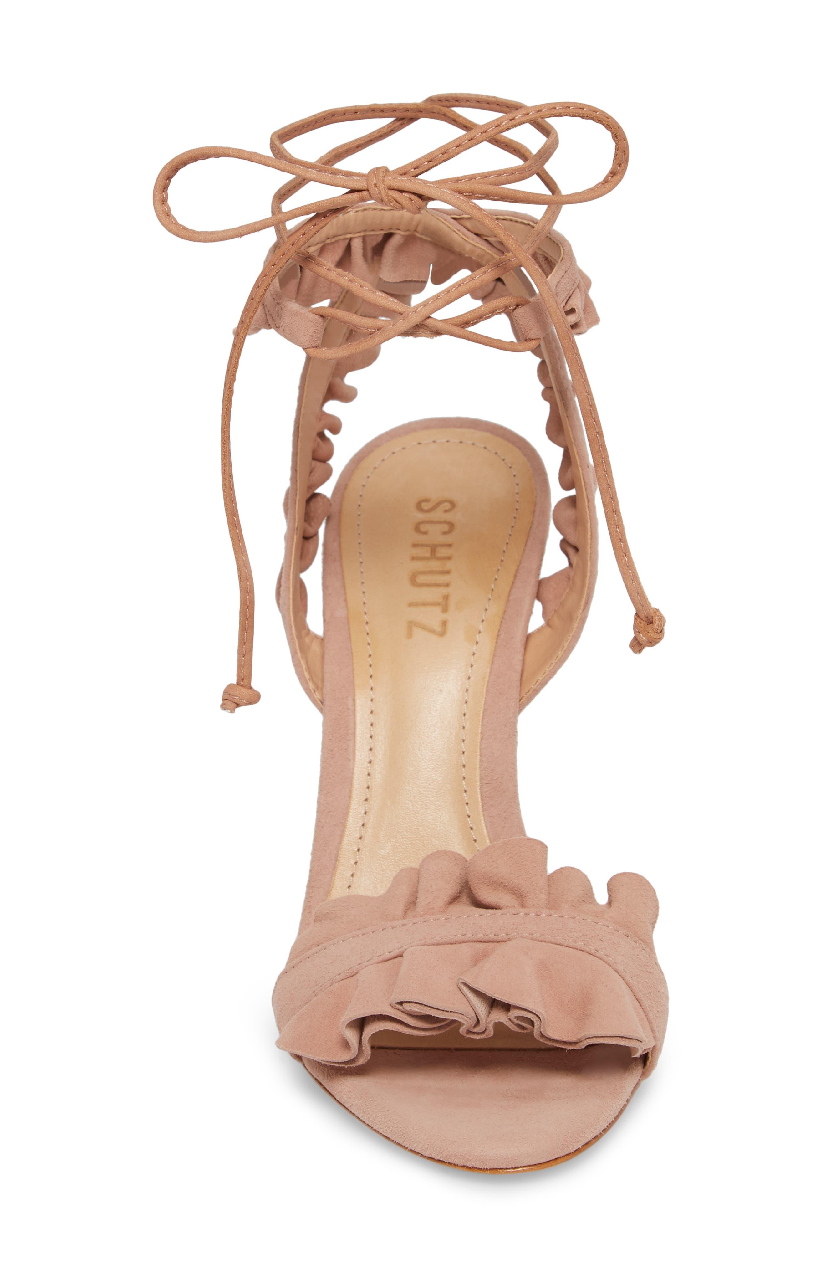 Irem Lace-UP Sandal,                             Alternate thumbnail 4, color,                             Peach Suede