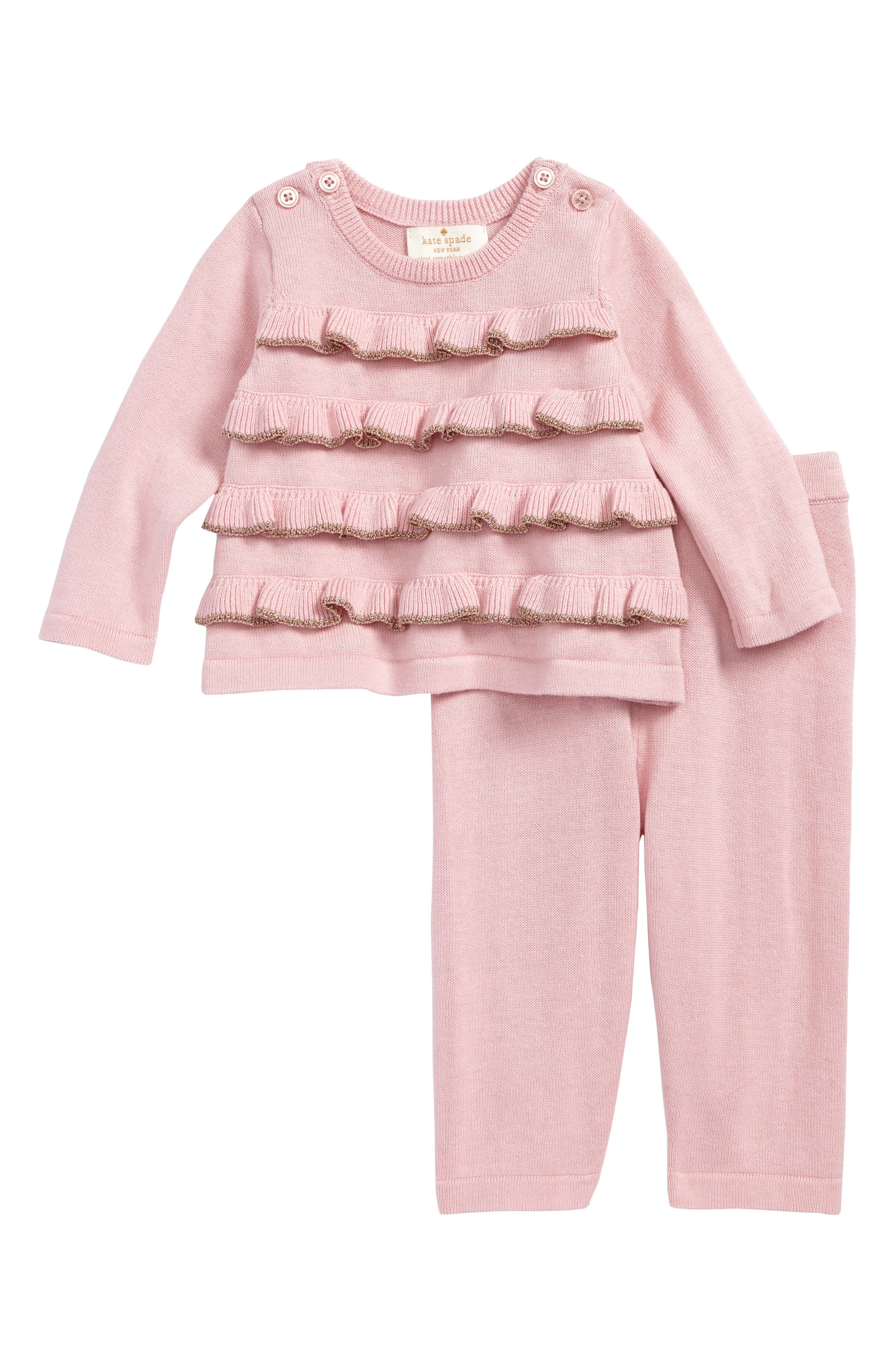 kate spade new york ruffle front sweater & leggings set (Baby Girls)