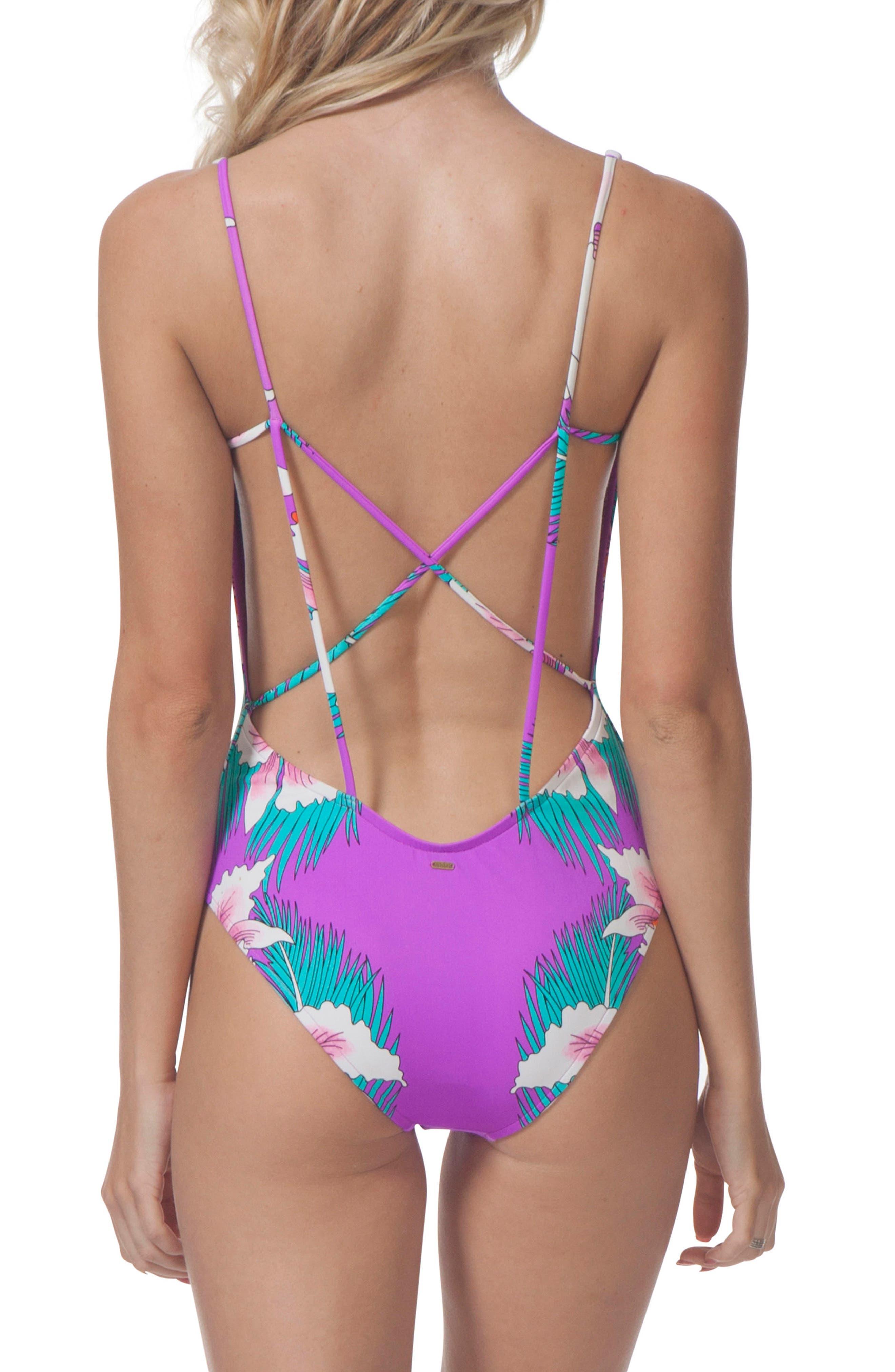 Hot Shot One-Piece Swimsuit,                             Alternate thumbnail 2, color,                             Purple