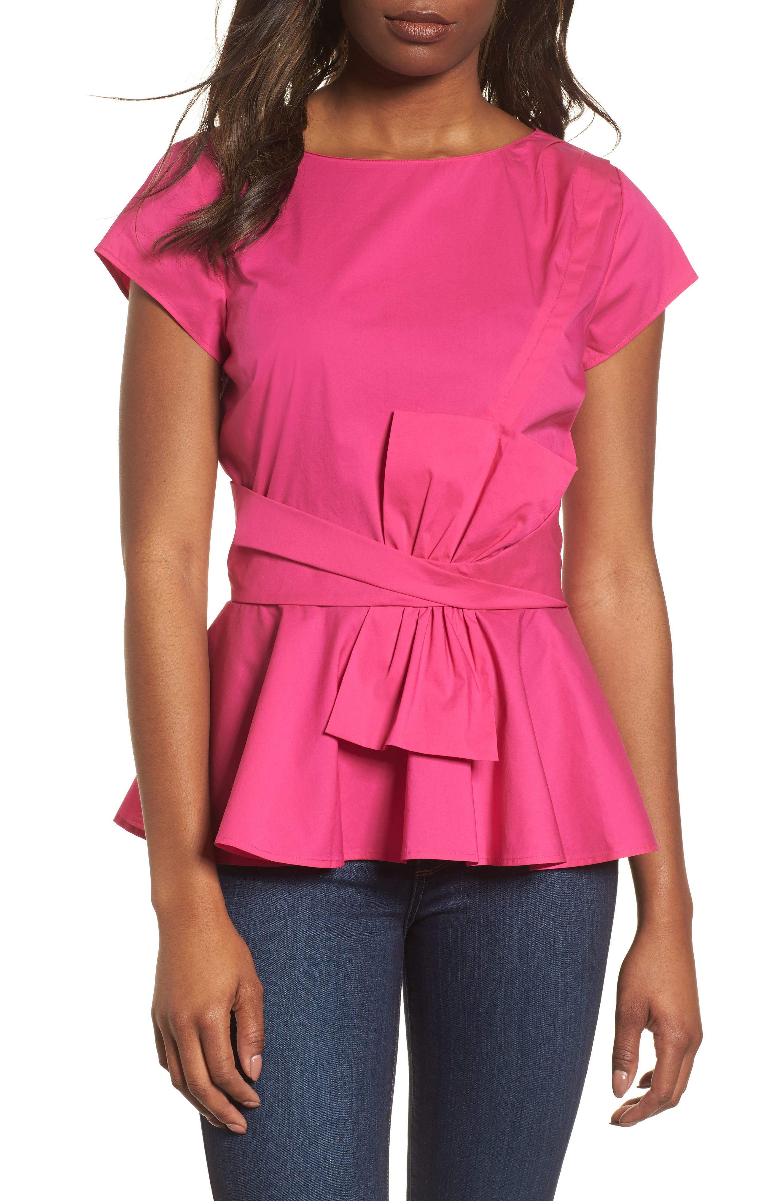 Bow Detail Peplum Top,                         Main,                         color, Pink Berry