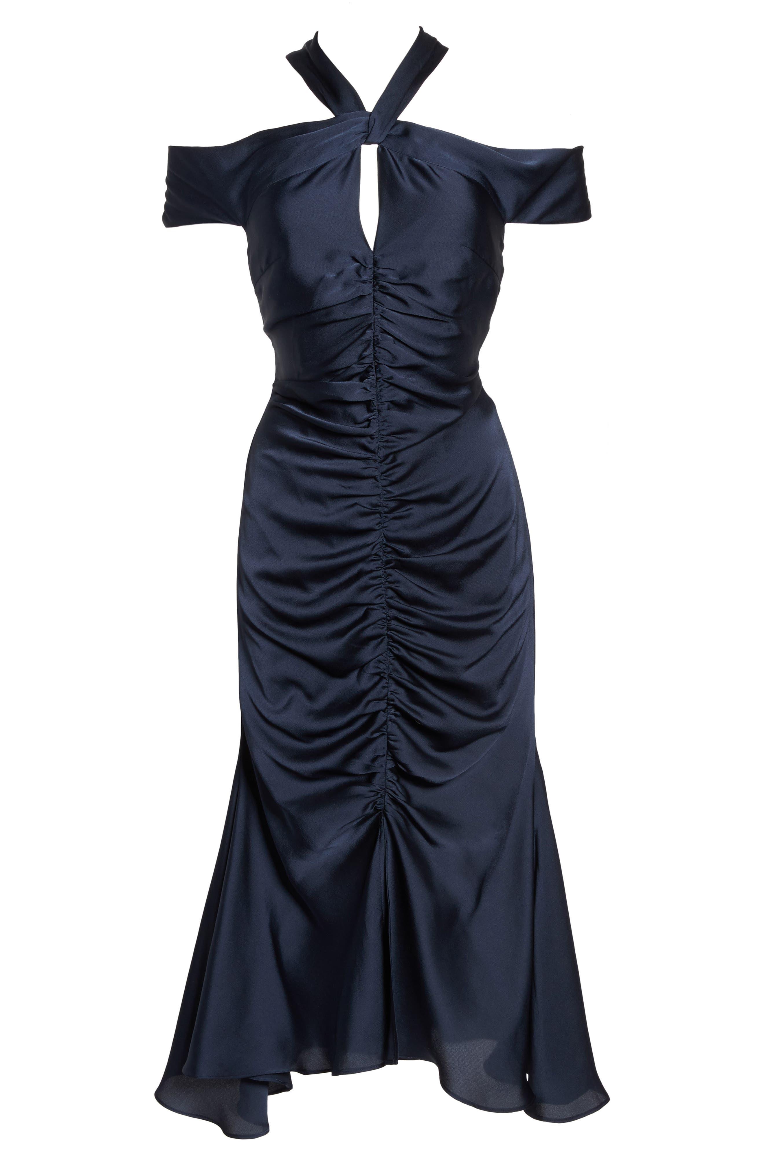 Dark Paradise Strappy Back Ruched Midi Dress,                             Alternate thumbnail 7, color,                             Navy