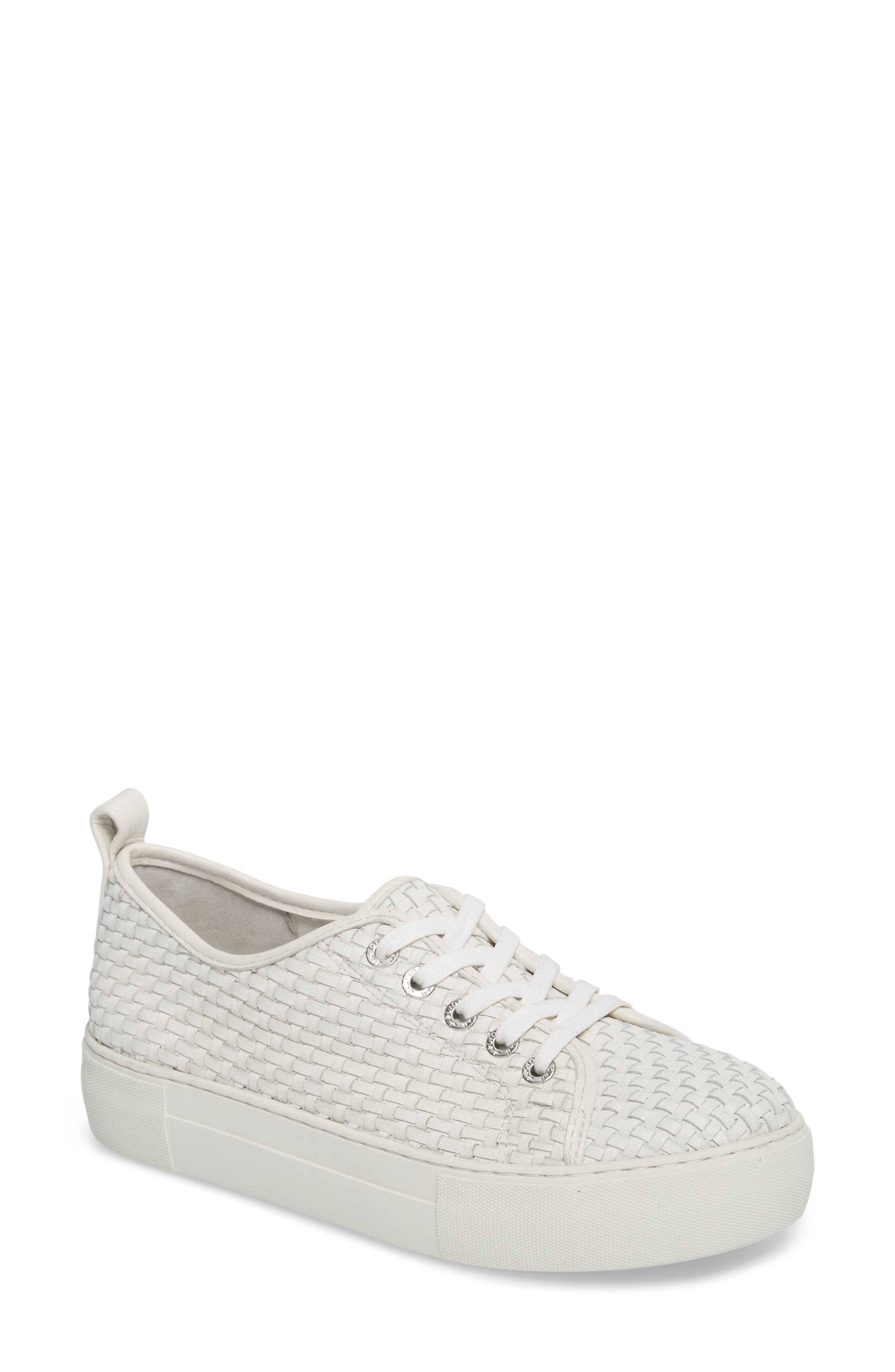 Artsy Woven Platform Sneaker,                         Main,                         color, White Leather