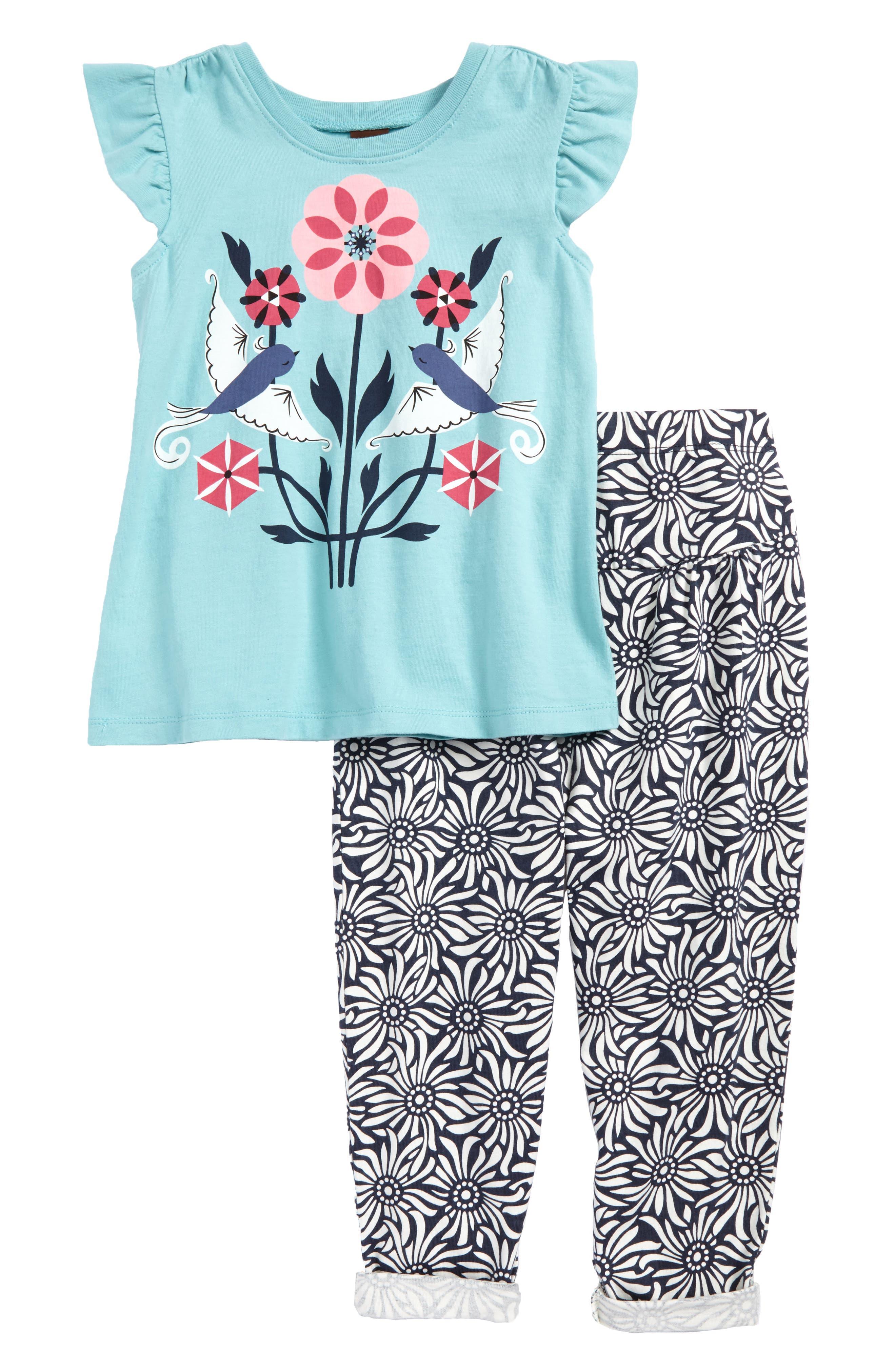 Main Image - Tea Collection Lovebirds Tee & Pants Set (Baby Girls)