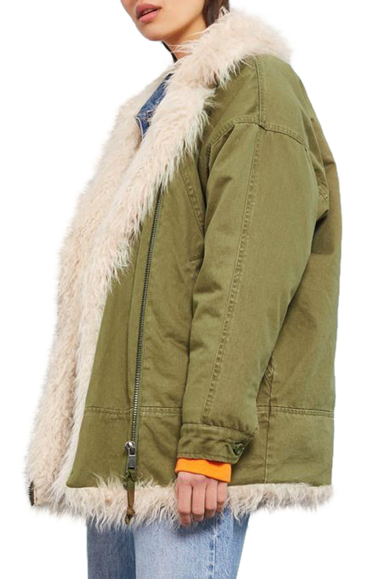Alternate Image 3  - Topshop Jake Faux Fur Lined Jacket