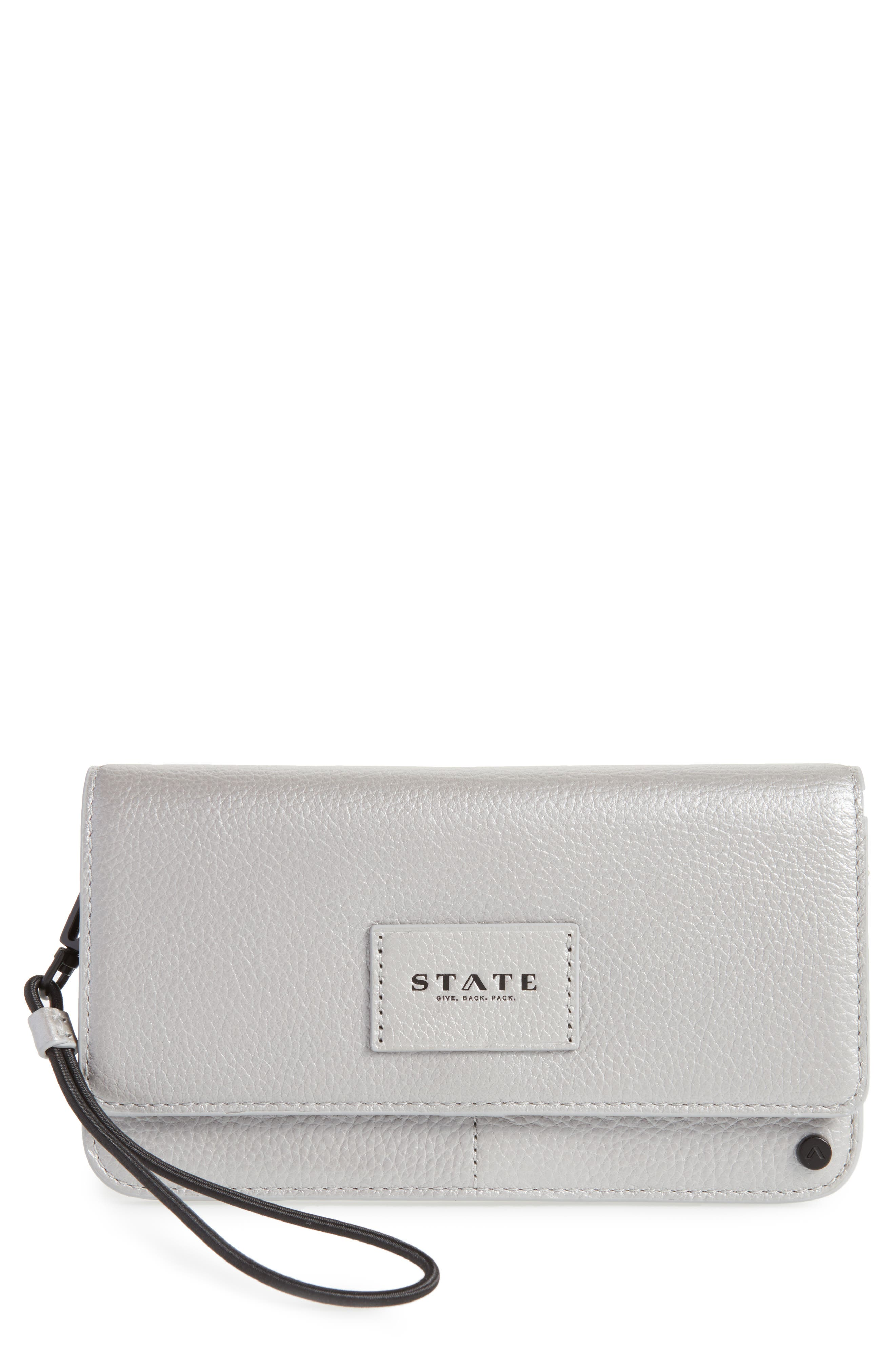 Greenwood Bristol Leather Wristlet,                         Main,                         color, Silver