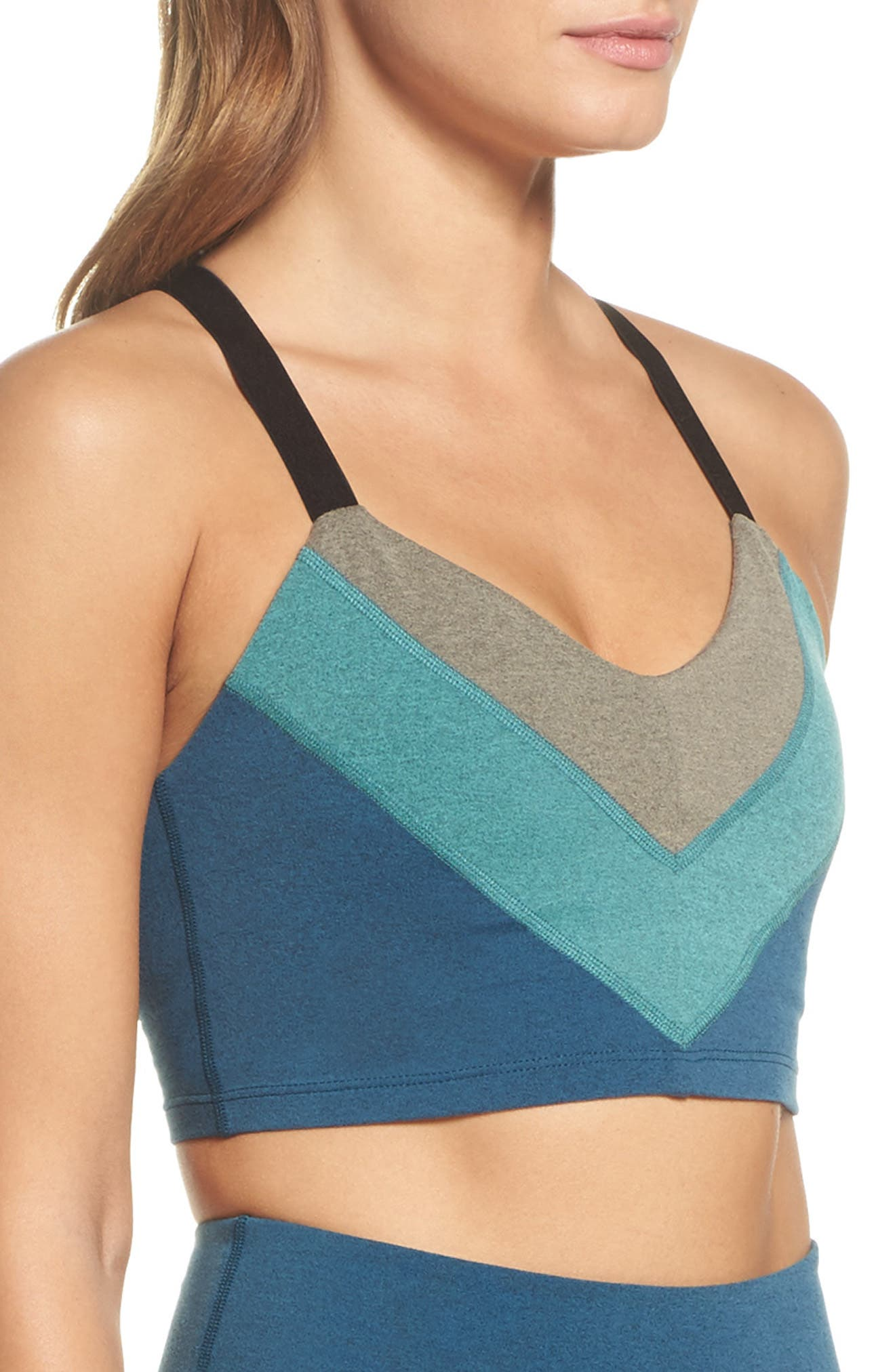Block & Key Sports Bra,                             Alternate thumbnail 4, color,                             Deep Sapphire Heather