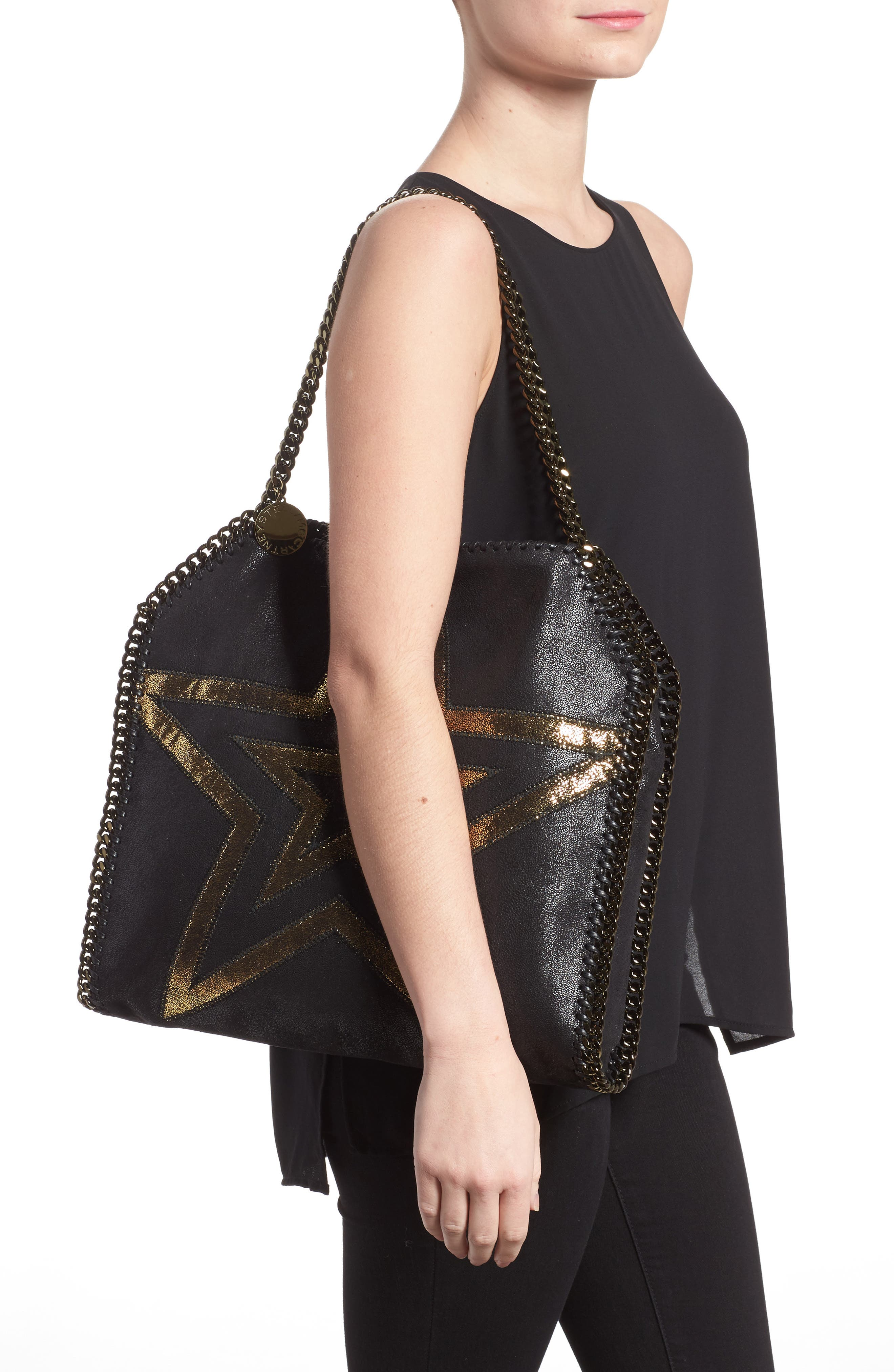 Small Falabella Shaggy Deer Star Faux Leather Tote,                             Alternate thumbnail 2, color,                             Black/ Gold