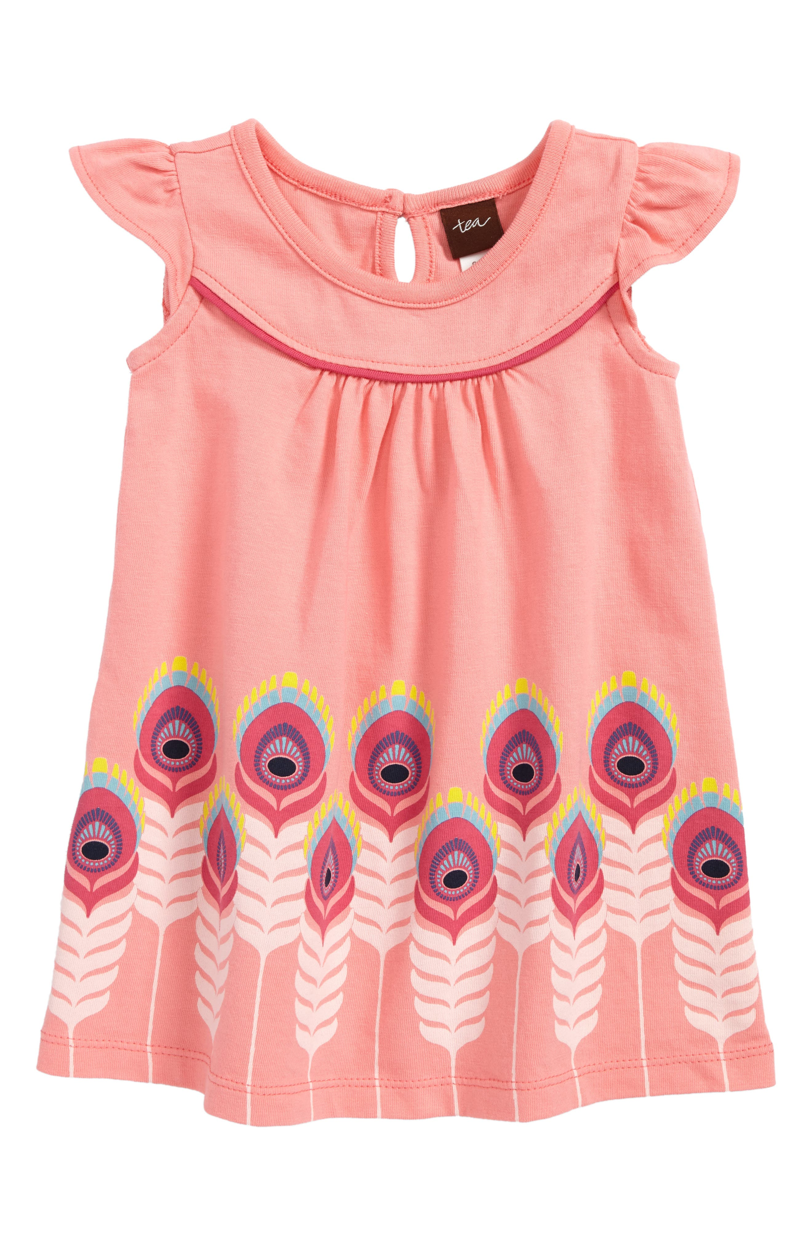 Feather Graphic Shift Dress,                         Main,                         color, Neon Rosa