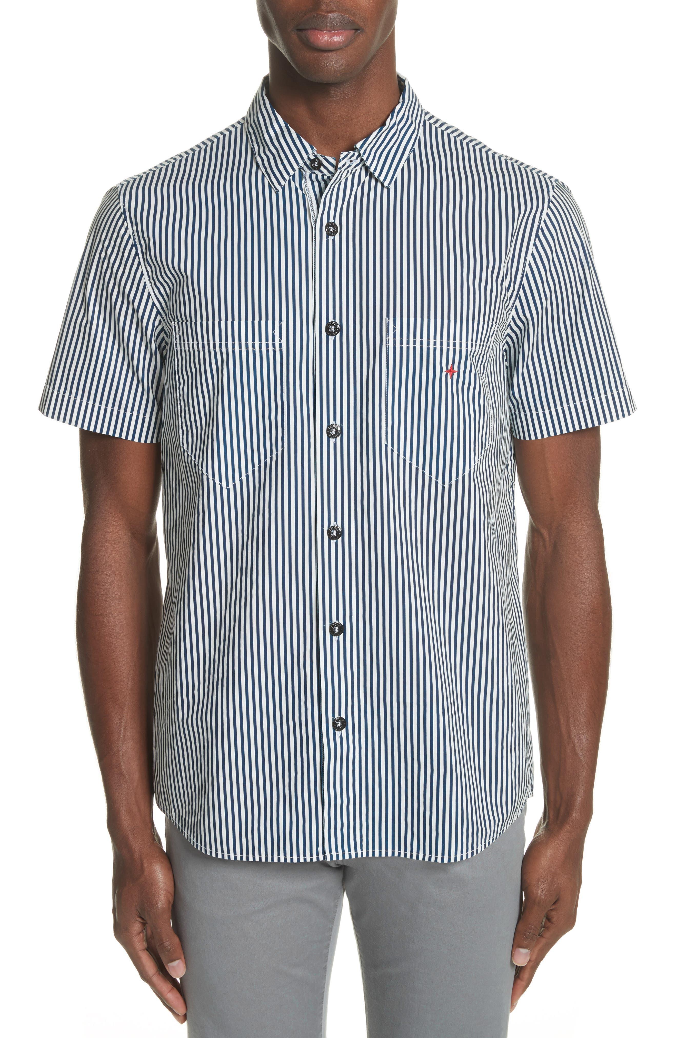 Stripe Woven Shirt,                         Main,                         color, White