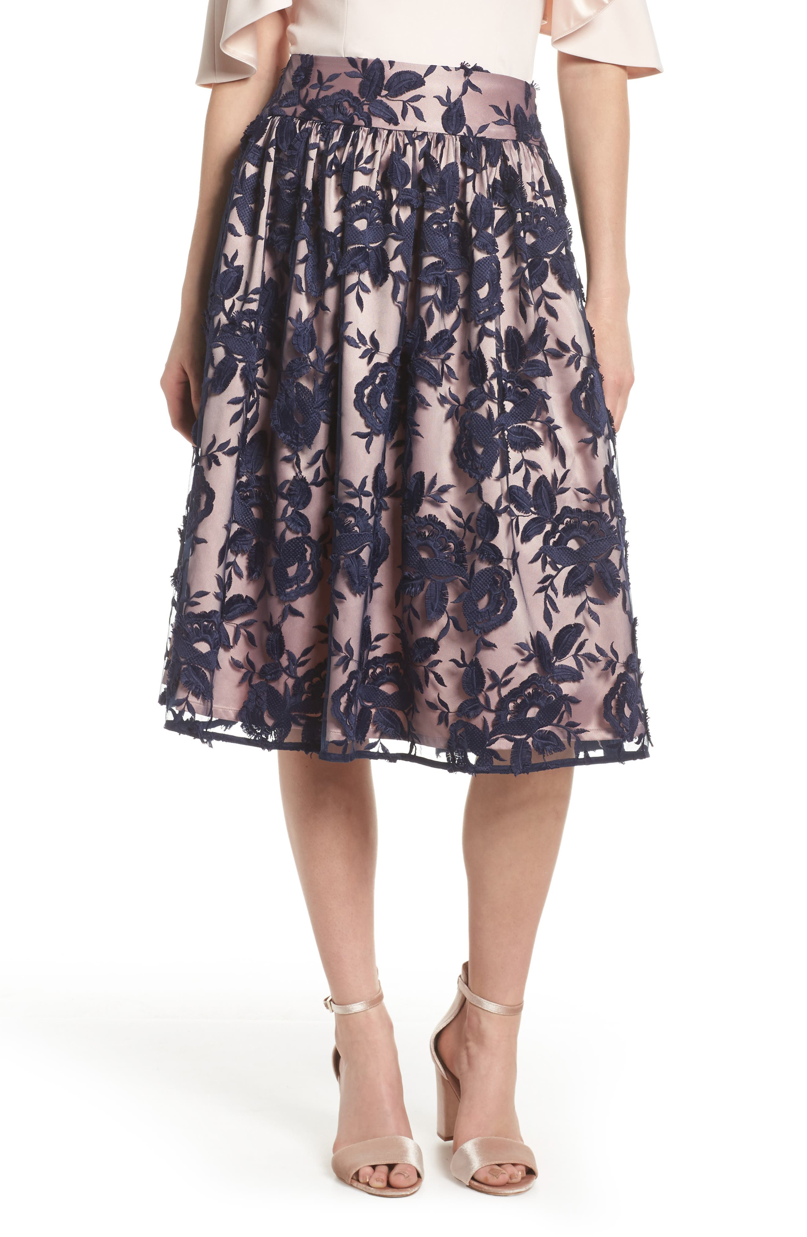 Embroidered Midi Skirt,                         Main,                         color, Navy