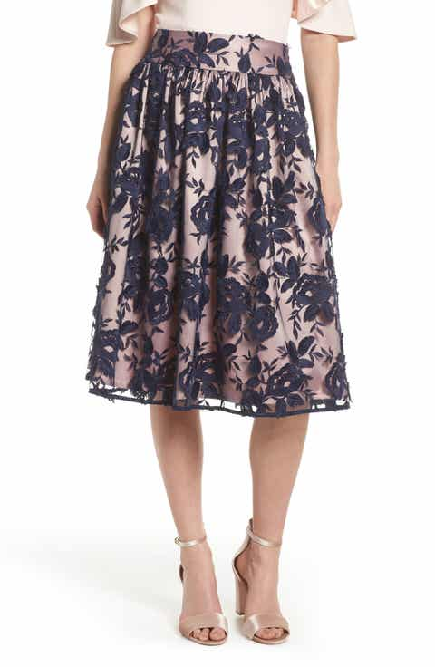 Eliza J Embroidered Midi Skirt