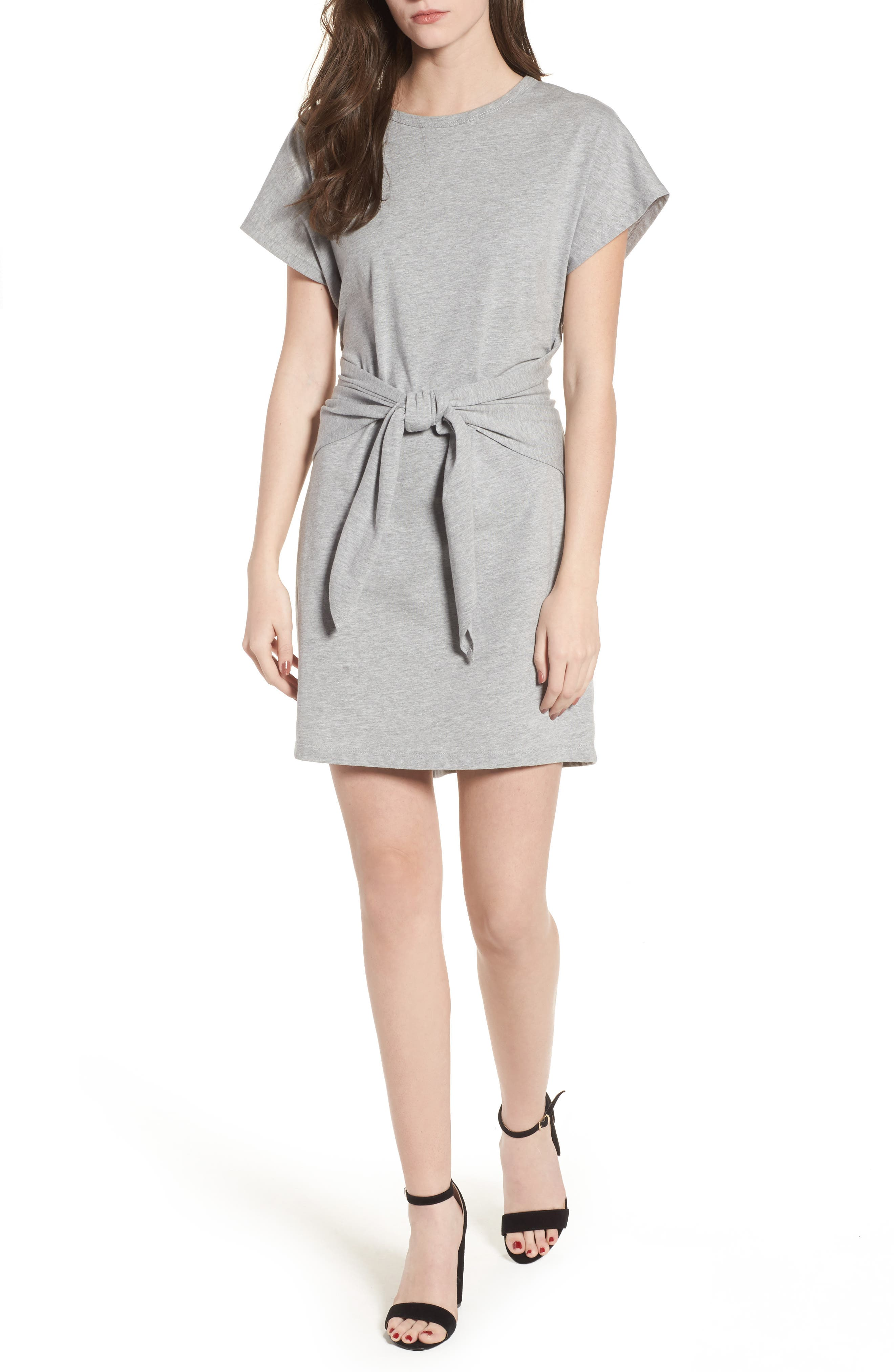 Tie Waist T-Shirt Dress,                             Main thumbnail 1, color,                             Heather Grey
