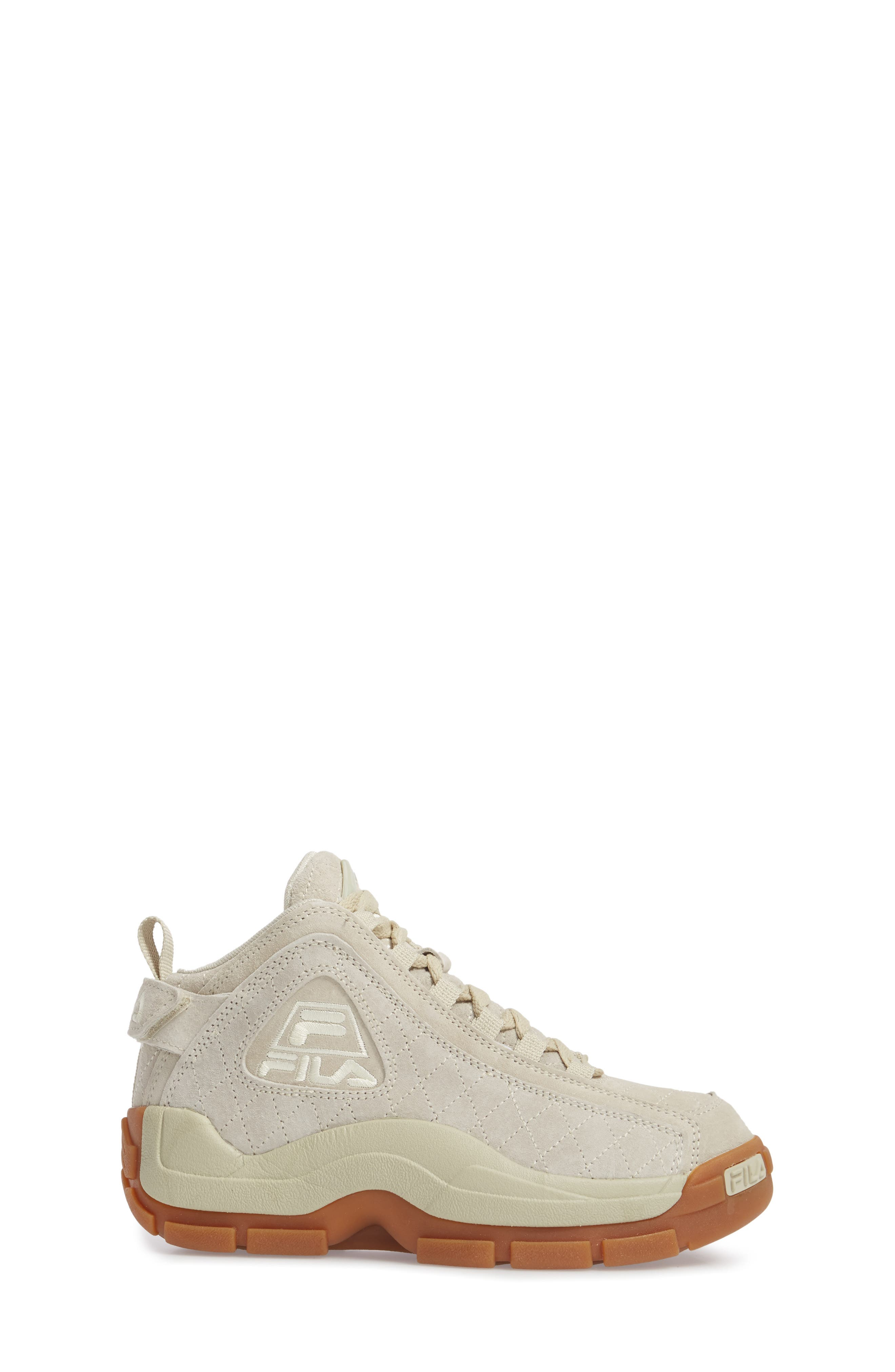 96 Quilted Mid-Top Sneaker,                             Alternate thumbnail 3, color,                             Cream/ Gum