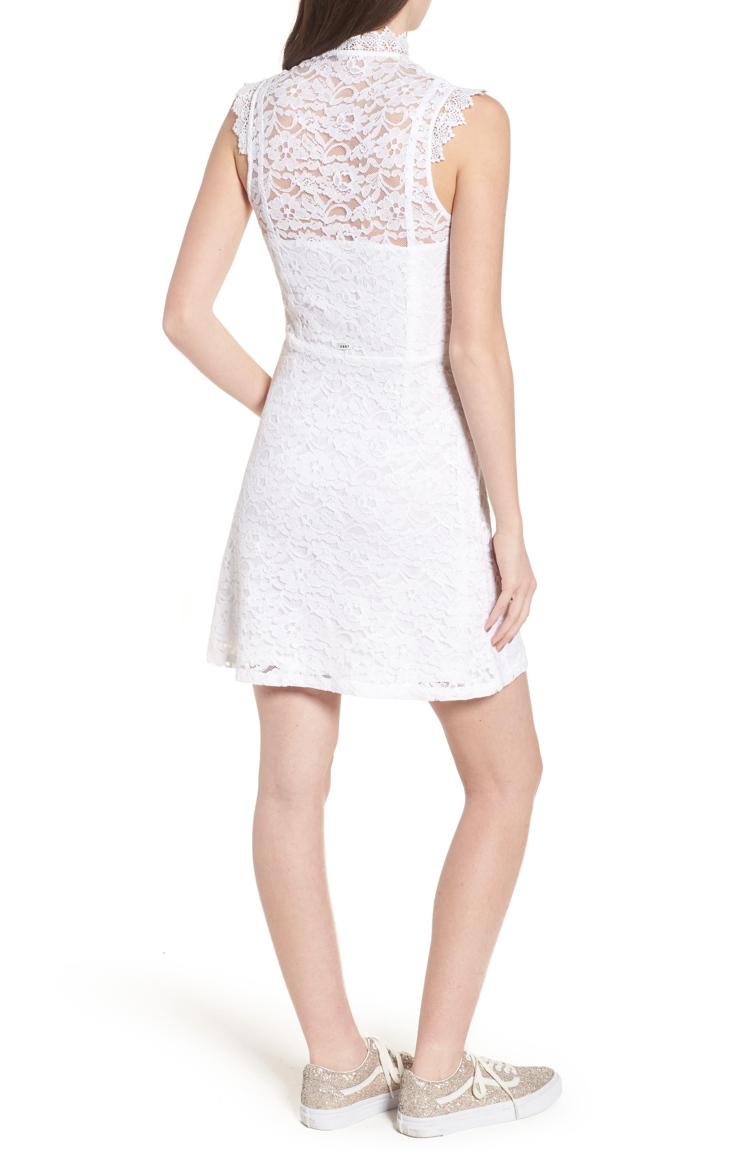 Rapture Lace Keyhole Dress,                             Alternate thumbnail 2, color,                             White