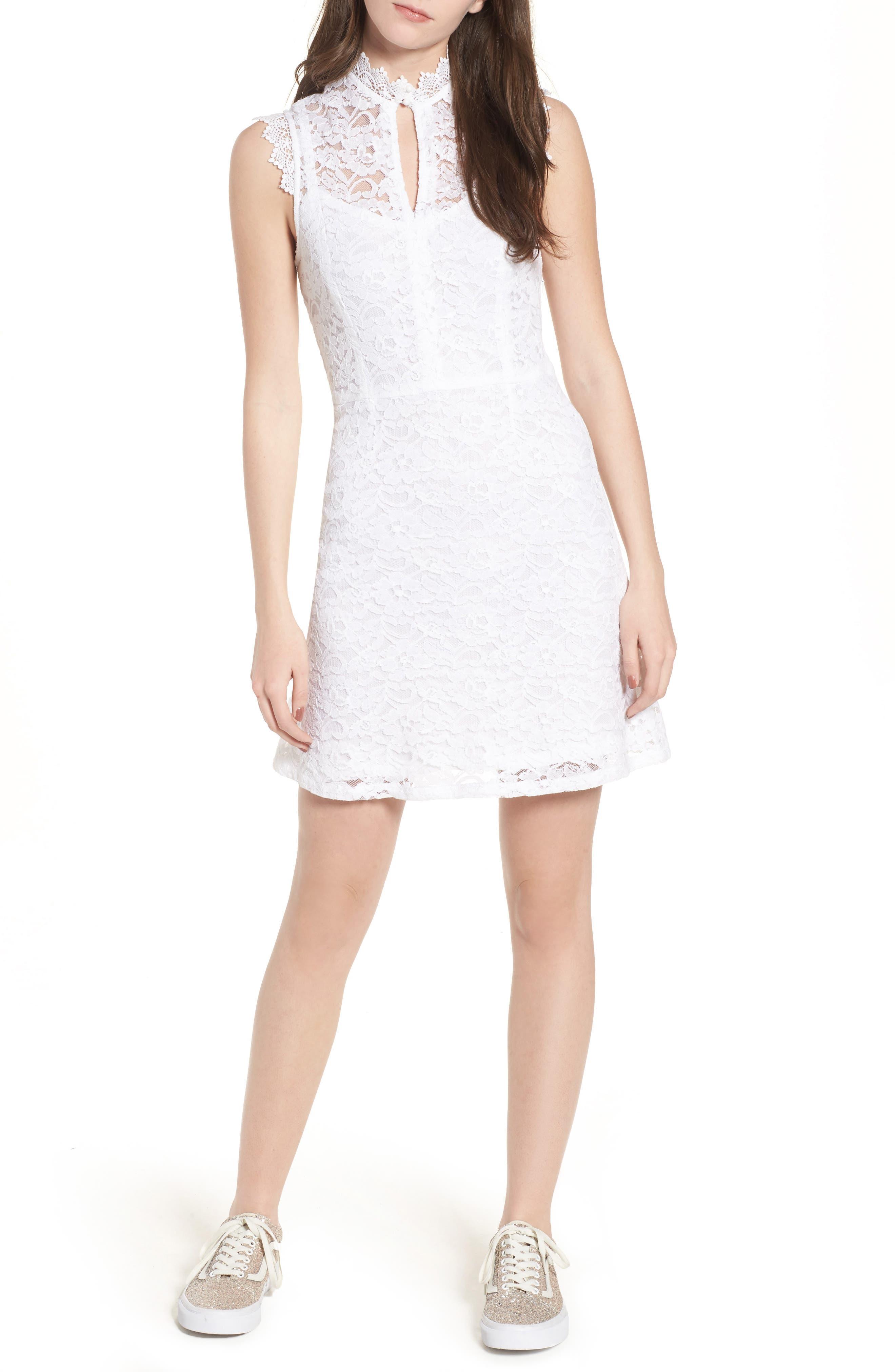Rapture Lace Keyhole Dress,                             Main thumbnail 1, color,                             White