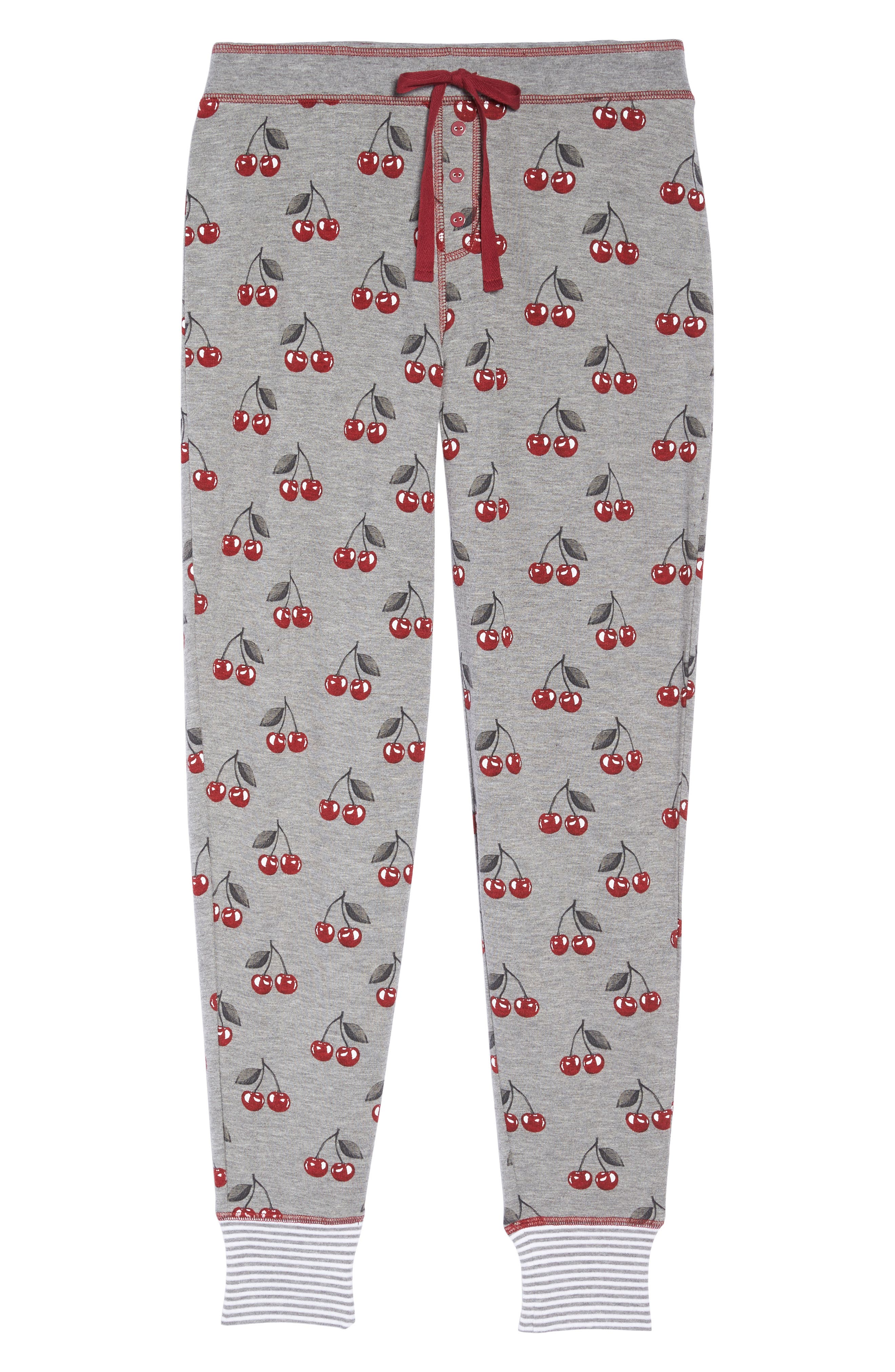 Cherry Lounge Jogger Pants,                             Alternate thumbnail 4, color,                             Heather Grey