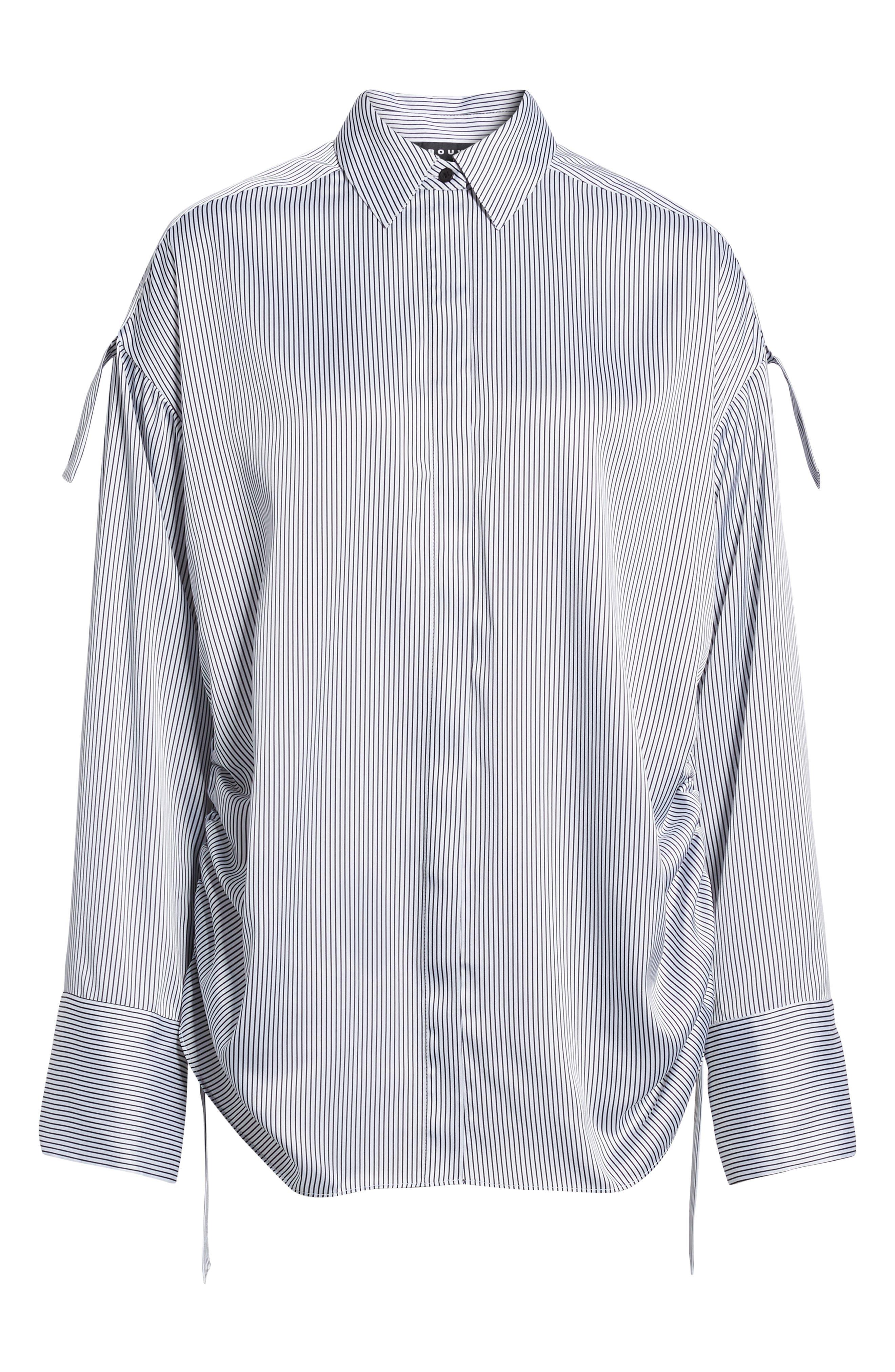 Tie Sleeve Satin Top,                             Alternate thumbnail 6, color,                             White/ Black Maisy Stripe