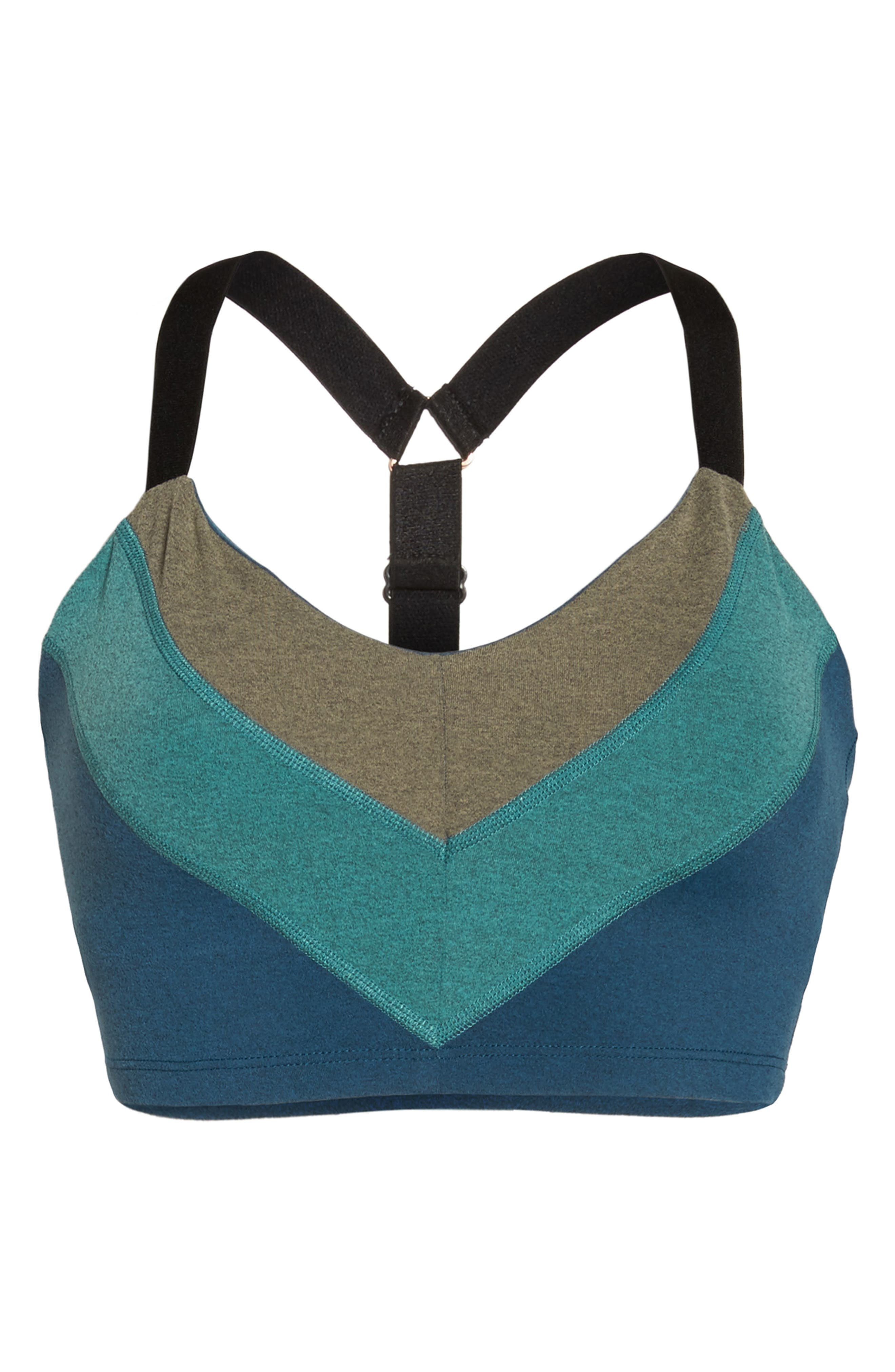 Block & Key Sports Bra,                             Alternate thumbnail 7, color,                             Deep Sapphire Heather