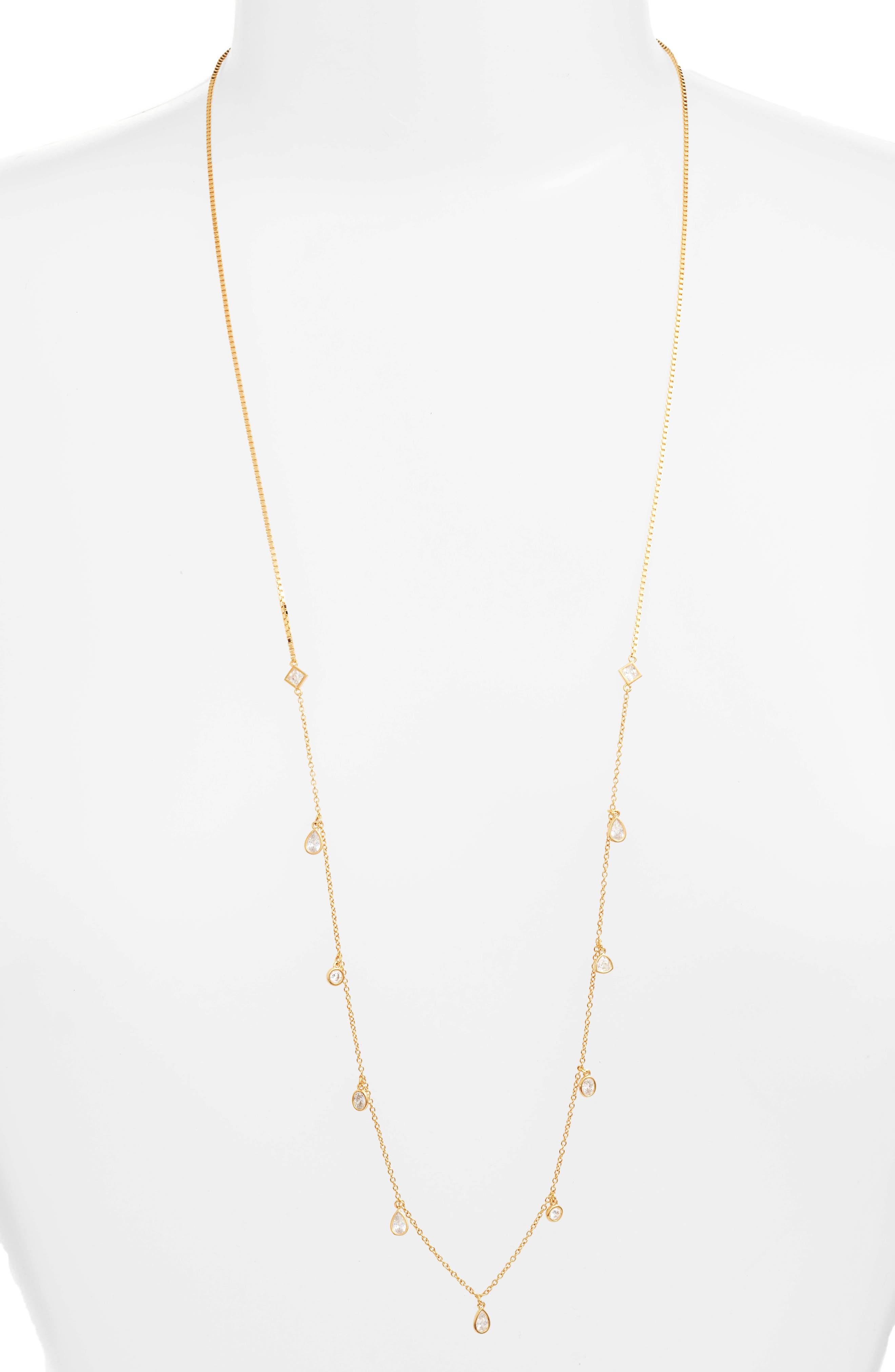 Cubic Zirconia Slider Necklace,                         Main,                         color, Gold