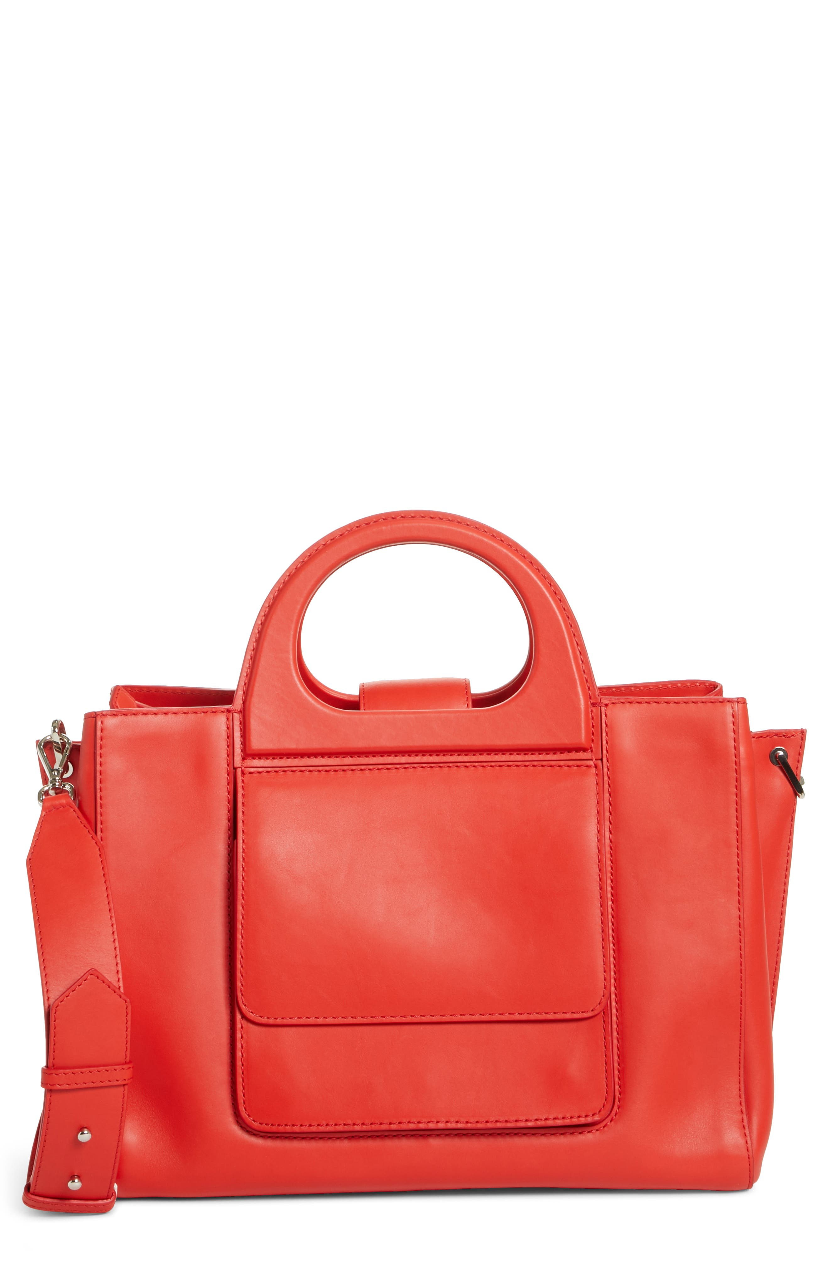 Medium Grace Leather Tote,                         Main,                         color, Coral